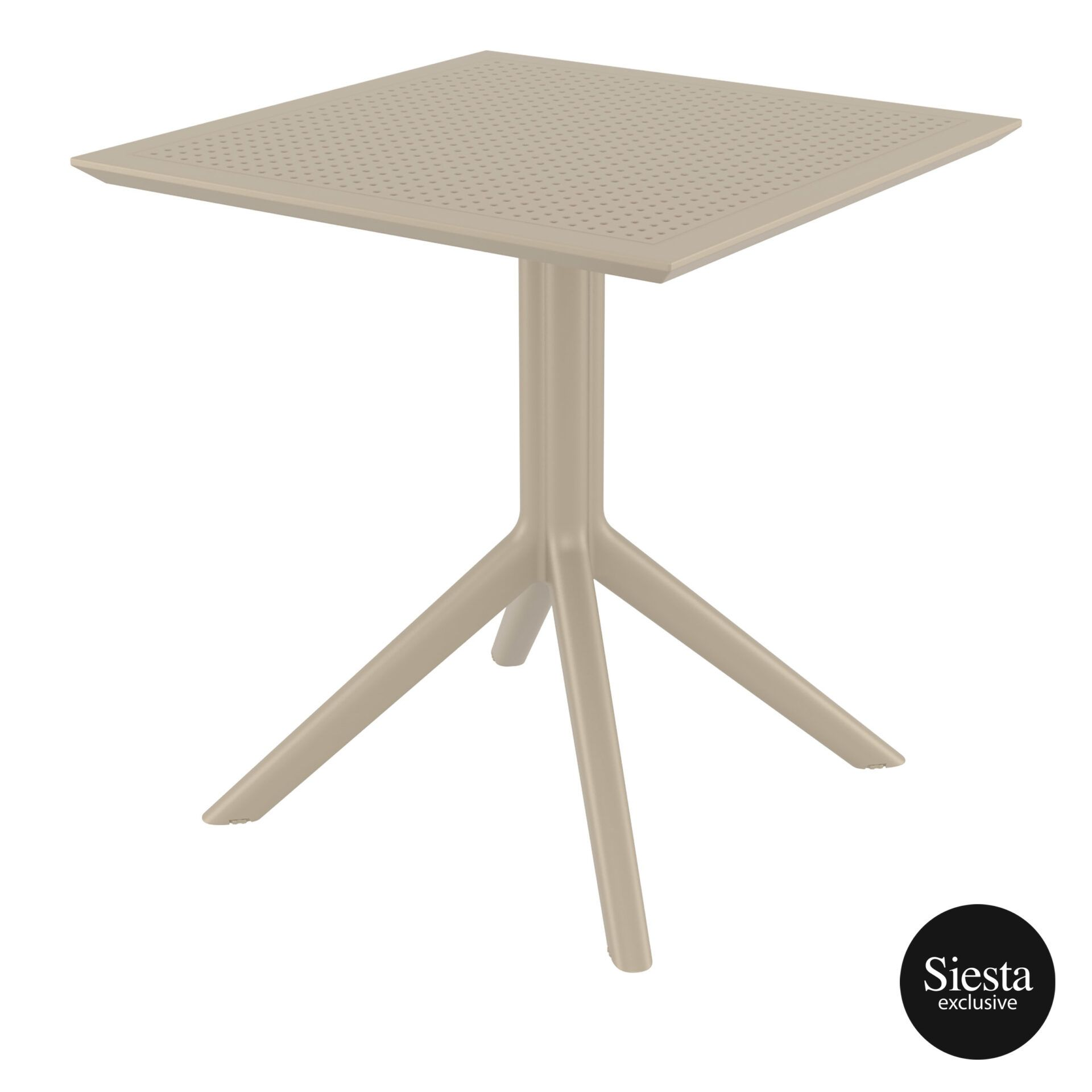 polypropylene outdoor cafe sky table 70 taupe front side 1