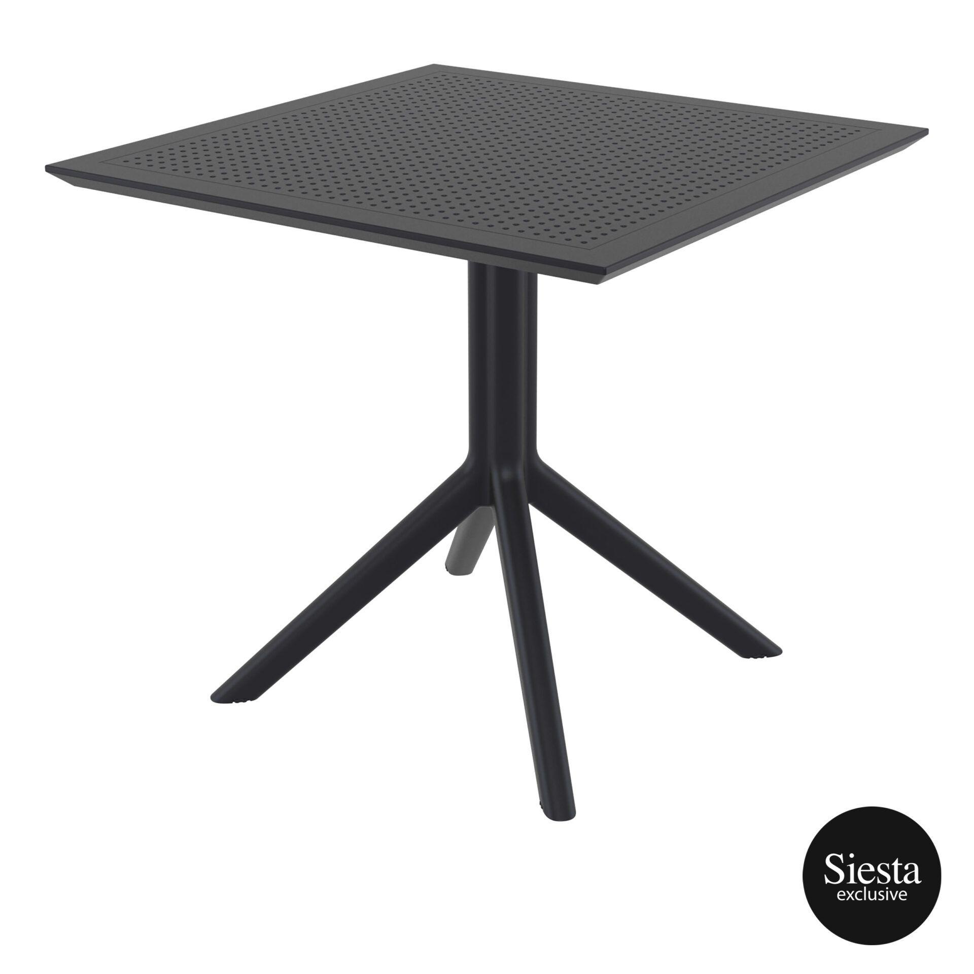 polypropylene outdoor cafe sky table 80 black front side 1