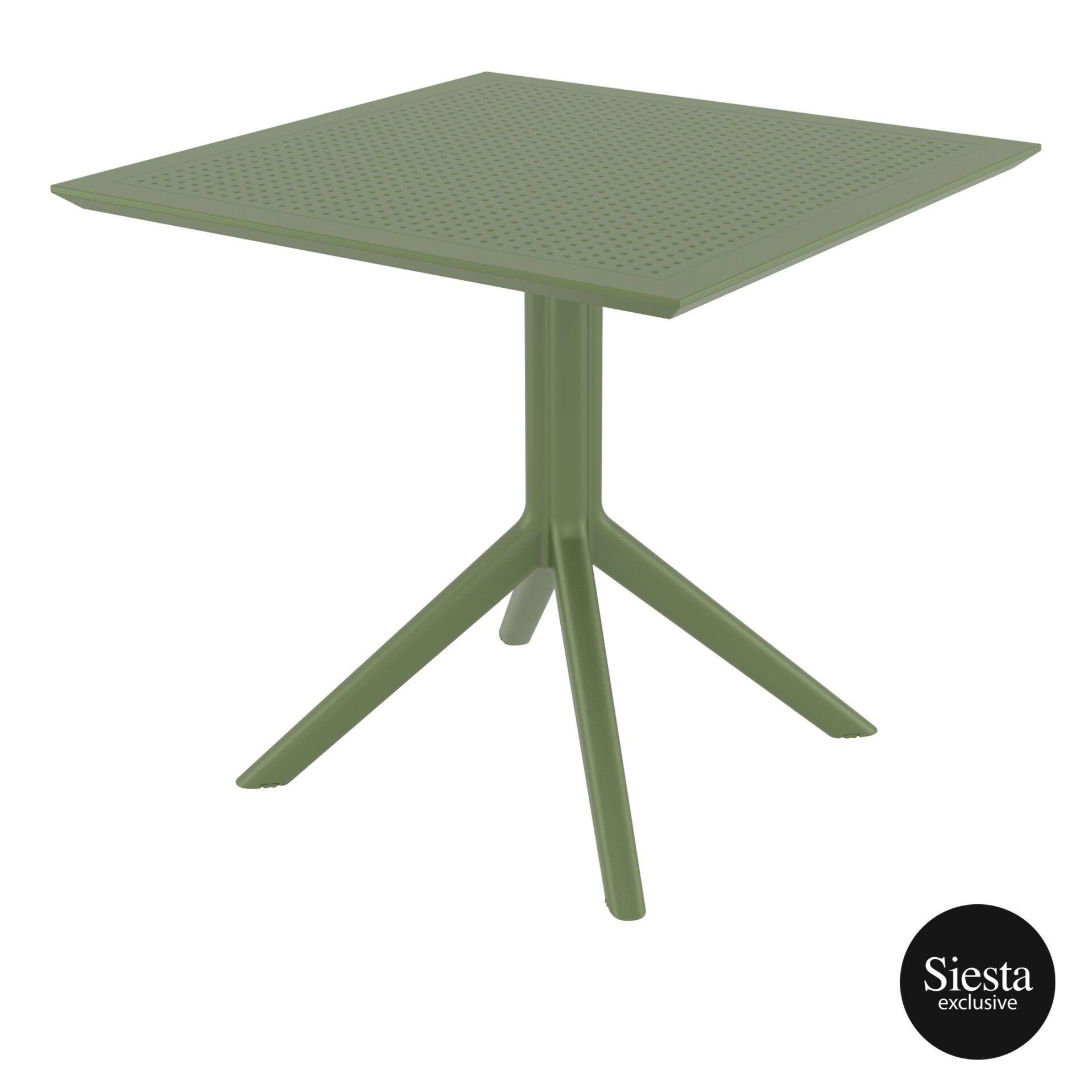 polypropylene outdoor cafe sky table 80 olive green front side 1