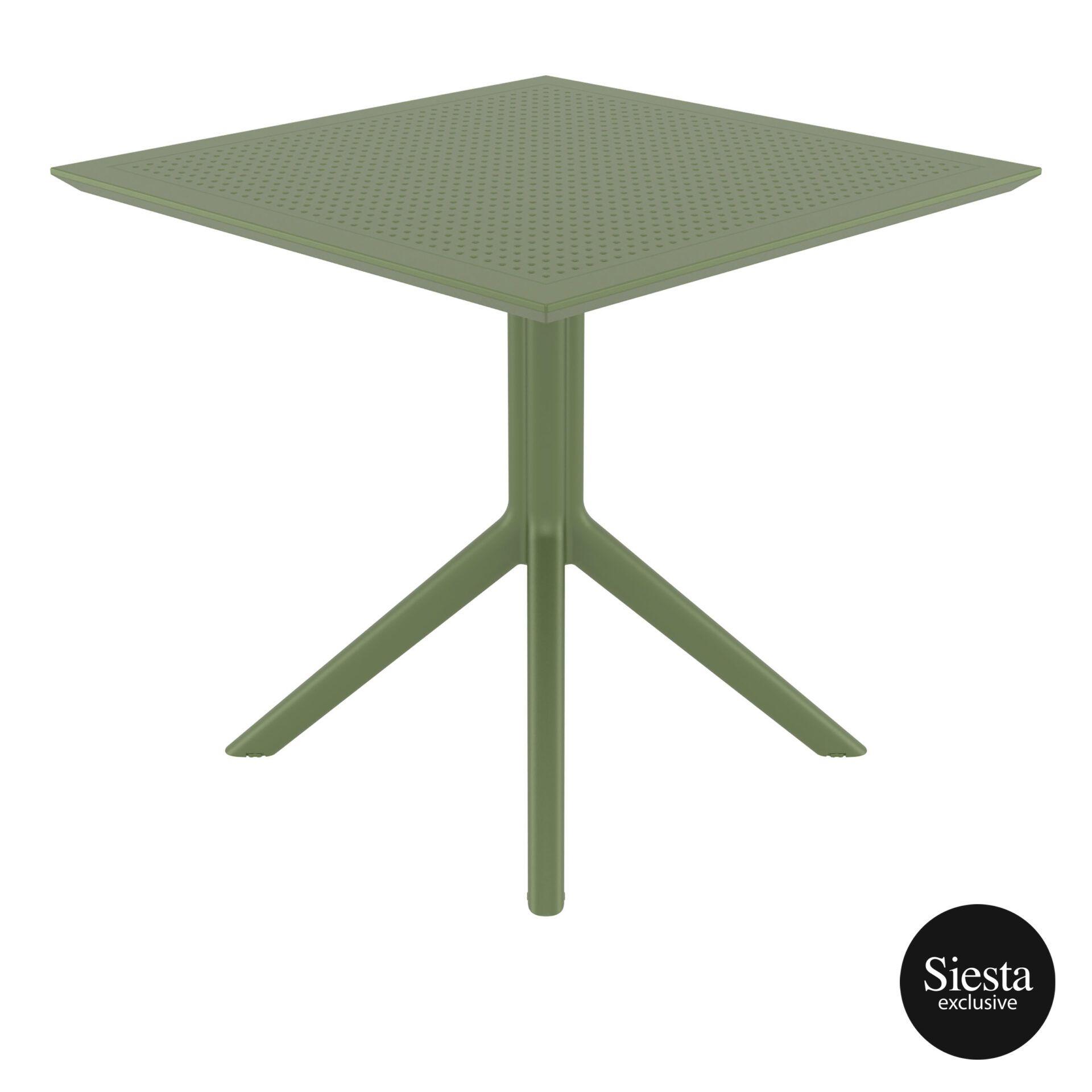 polypropylene outdoor cafe sky table 80 olive green side 1