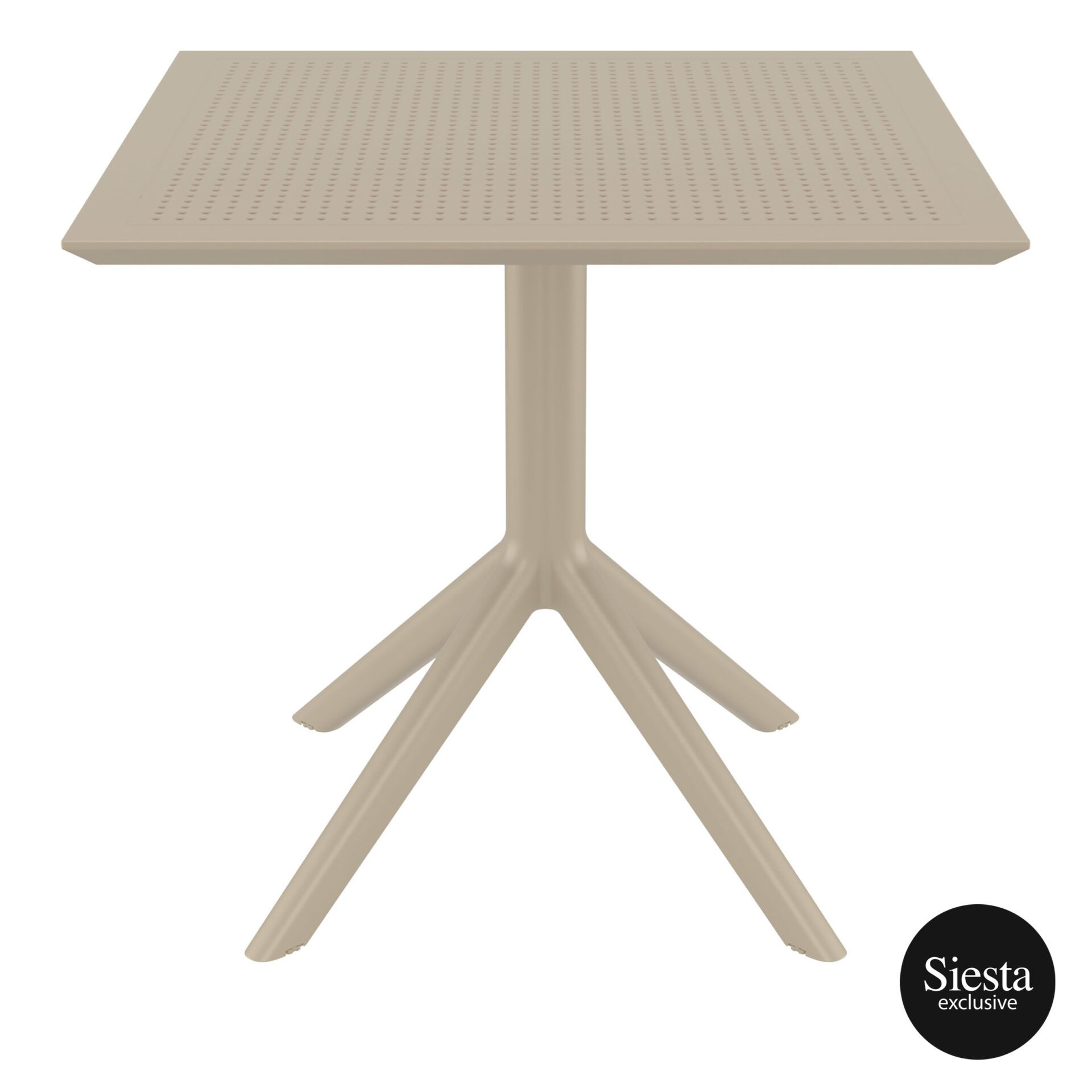 polypropylene outdoor cafe sky table 80 taupe front 1