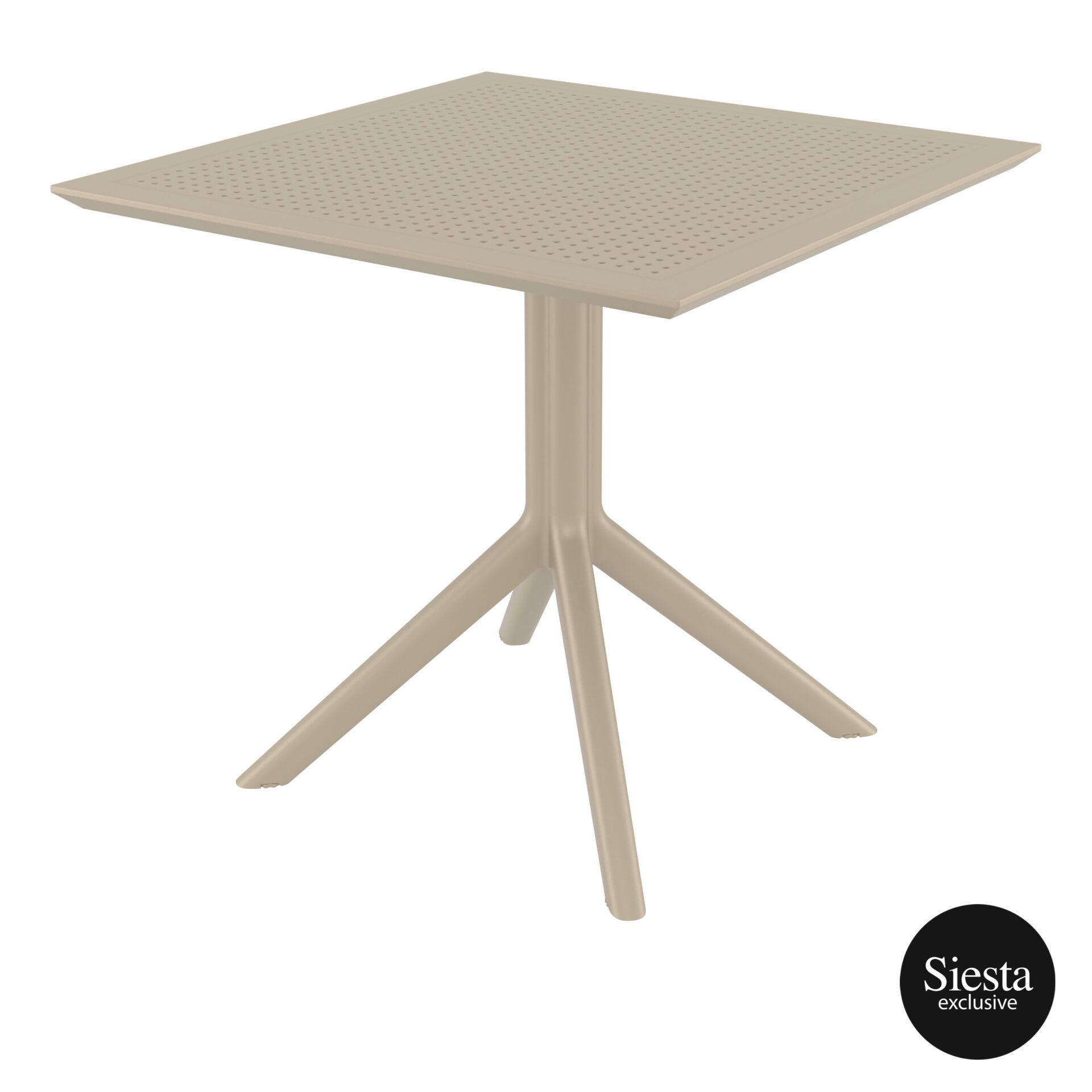 polypropylene outdoor cafe sky table 80 taupe front side 1