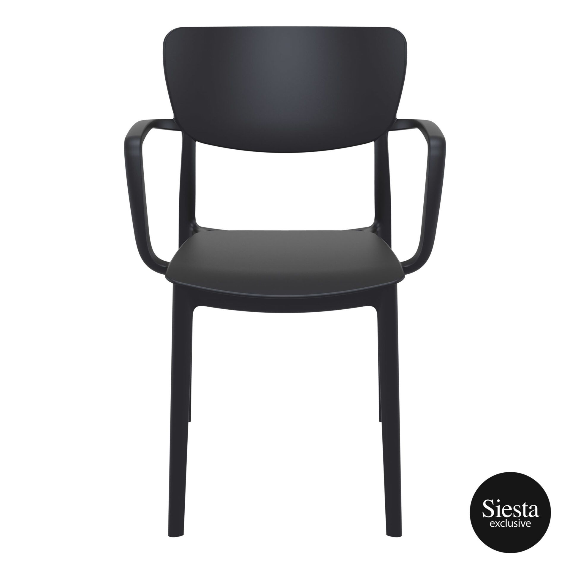 polypropylene hospitality seating lisa armchair black front 1