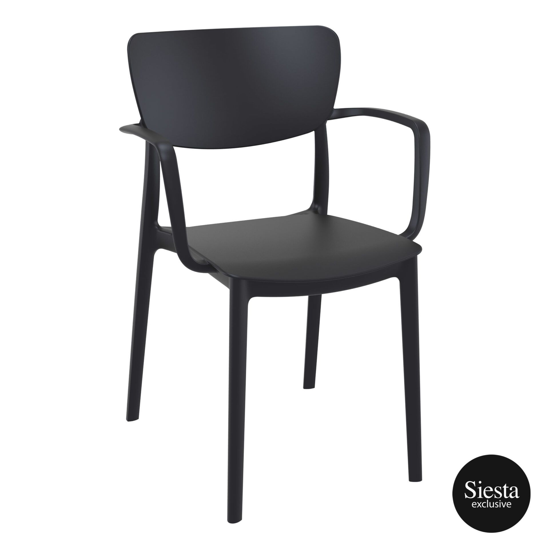 polypropylene hospitality seating lisa armchair black front side 1