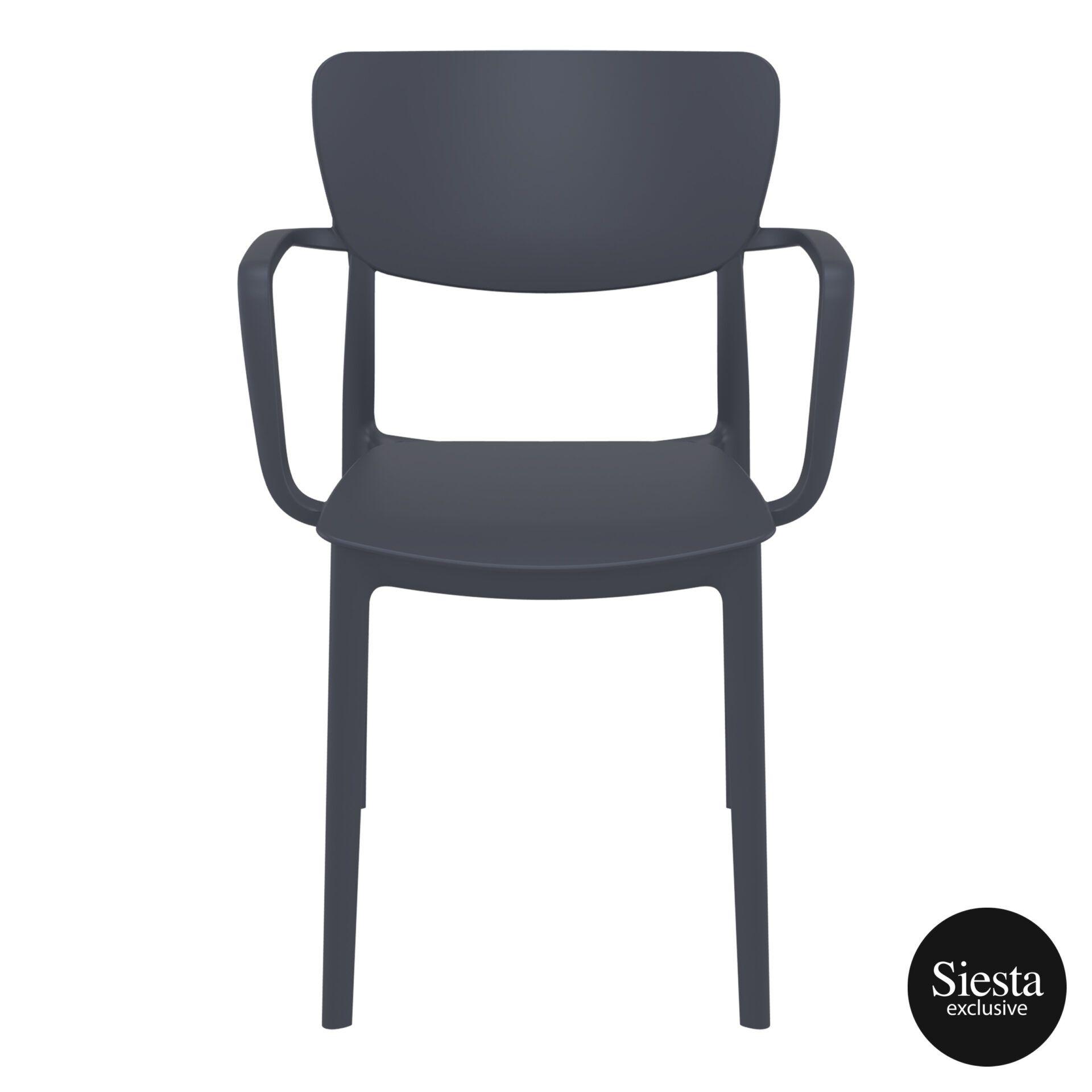 polypropylene hospitality seating lisa armchair darkgrey front 2