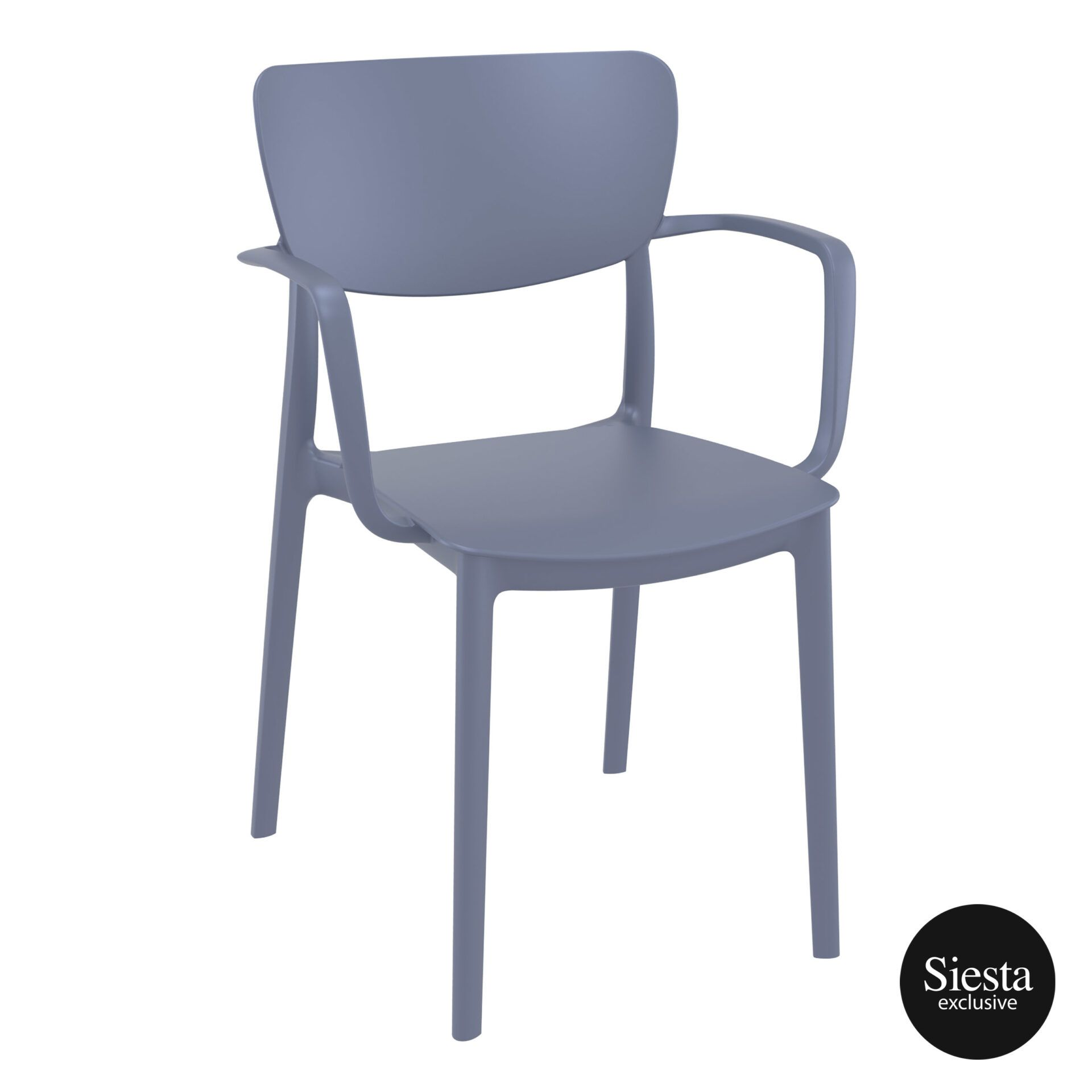 polypropylene hospitality seating lisa armchair darkgrey front side 1
