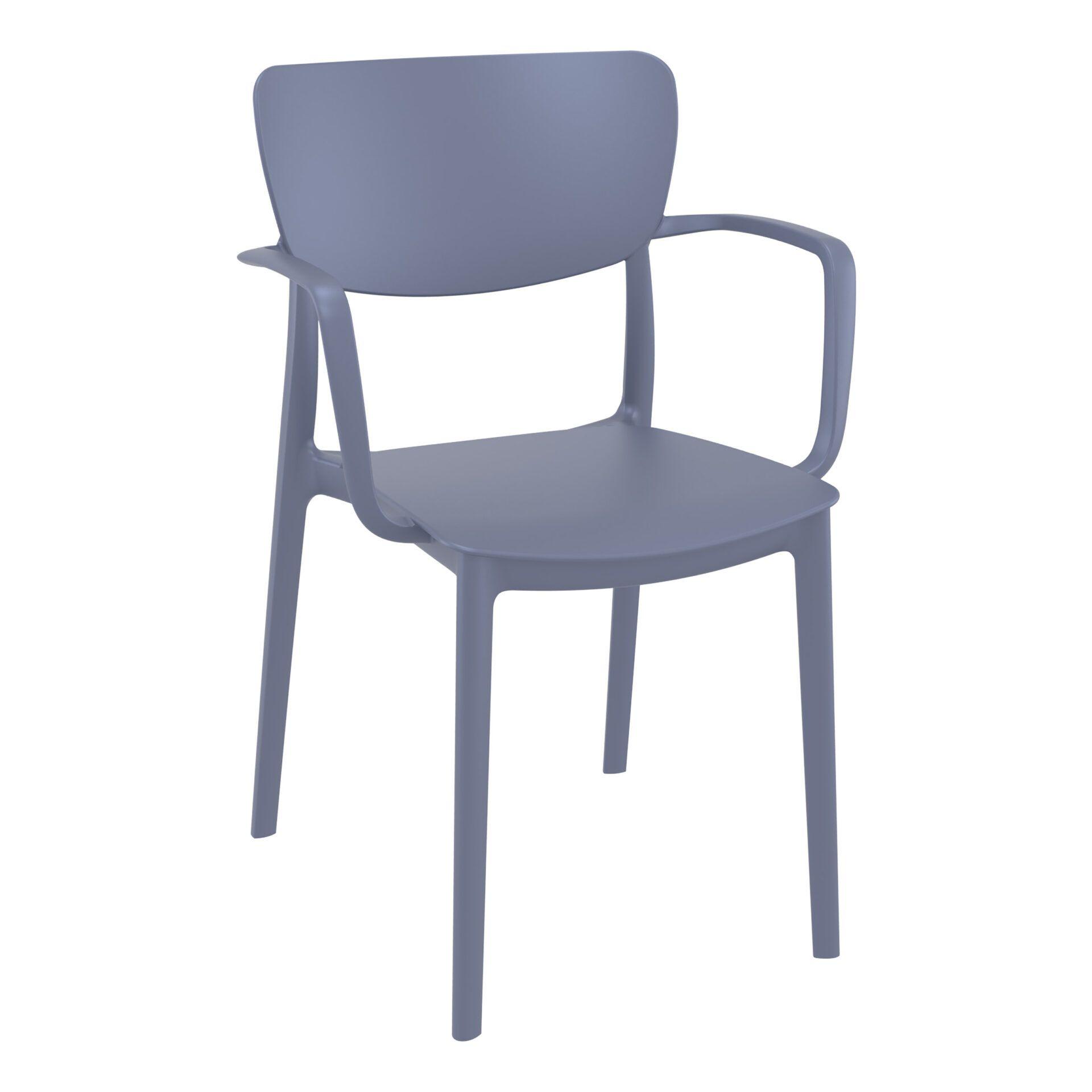 polypropylene hospitality seating lisa armchair darkgrey front side