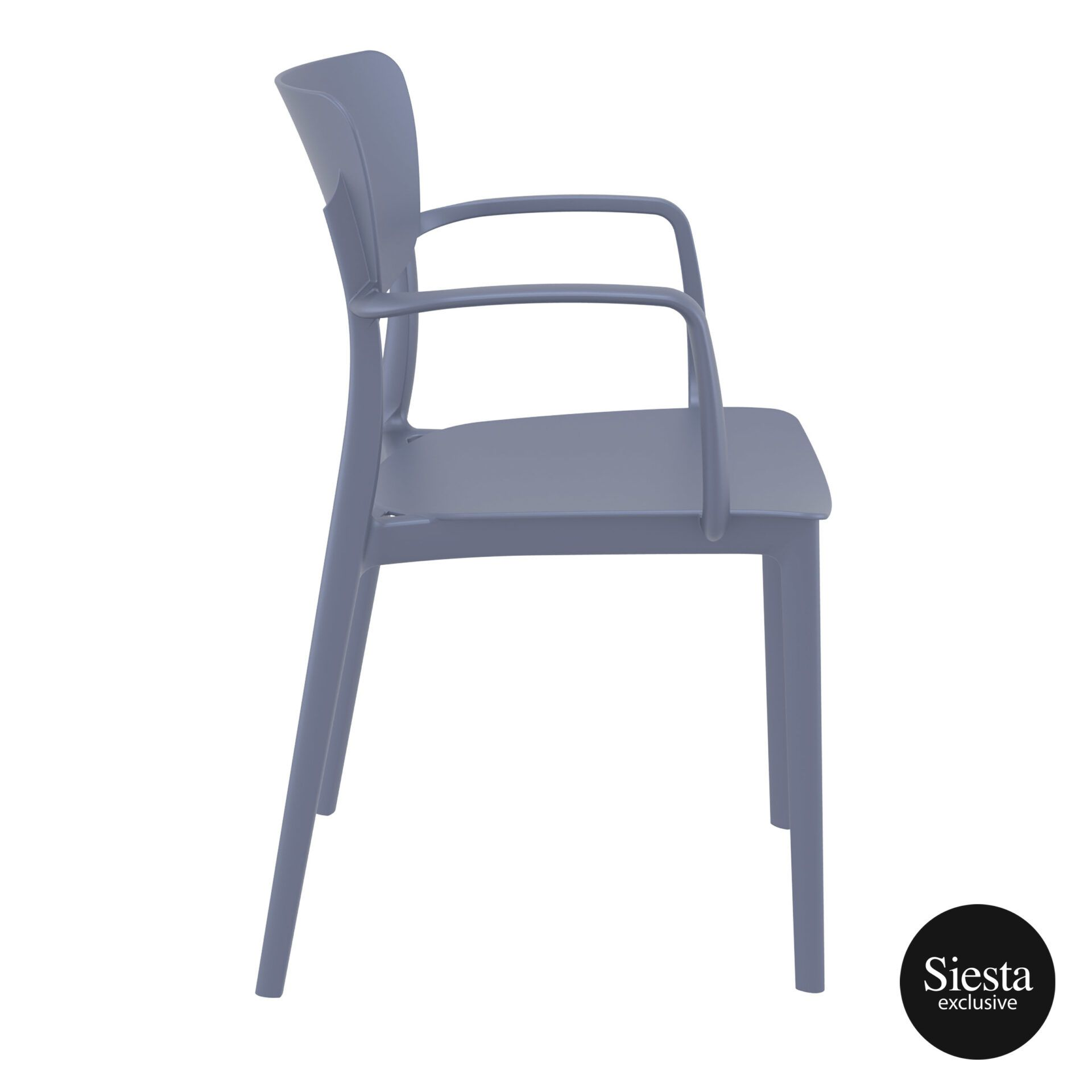 polypropylene hospitality seating lisa armchair darkgrey side 1