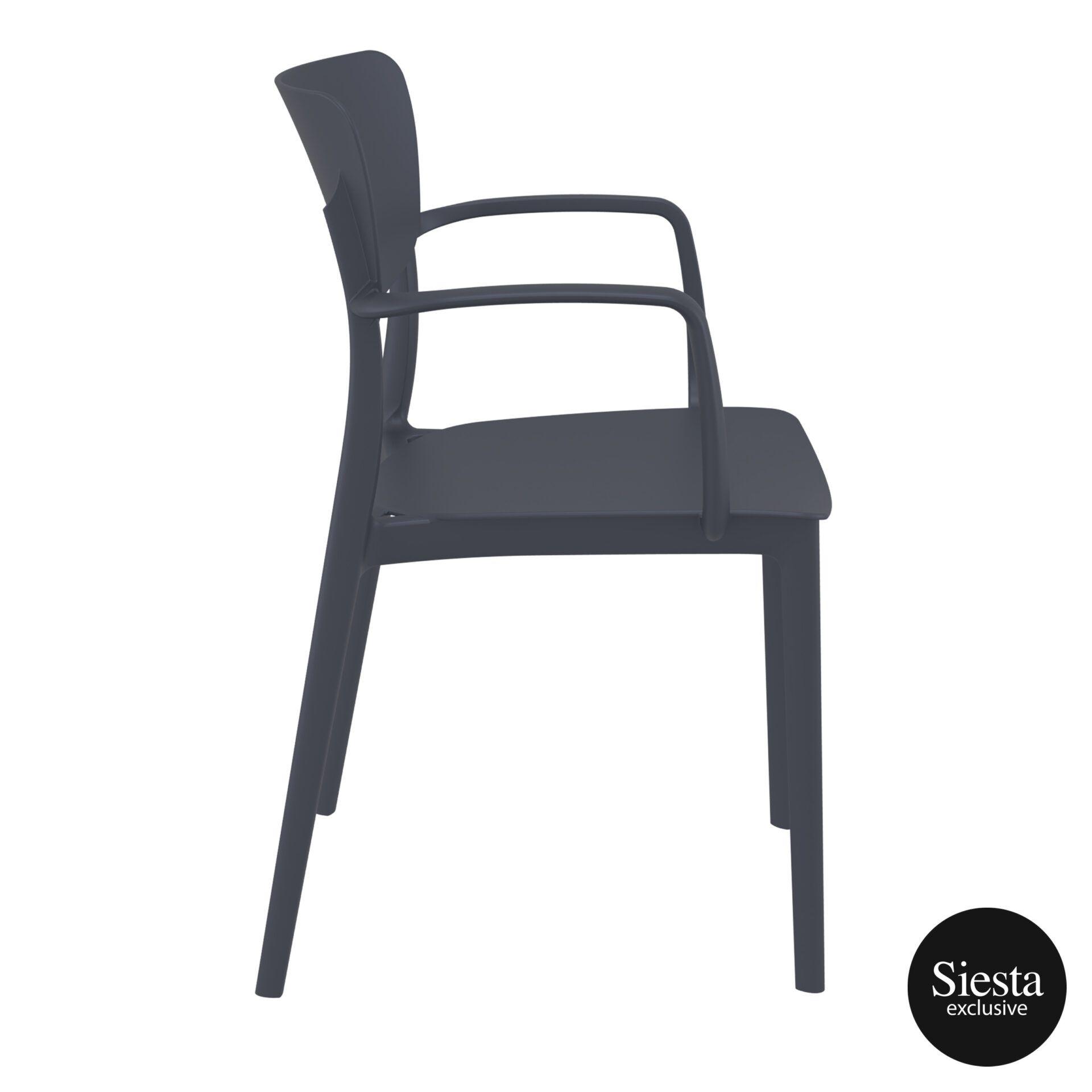 polypropylene hospitality seating lisa armchair darkgrey side 2