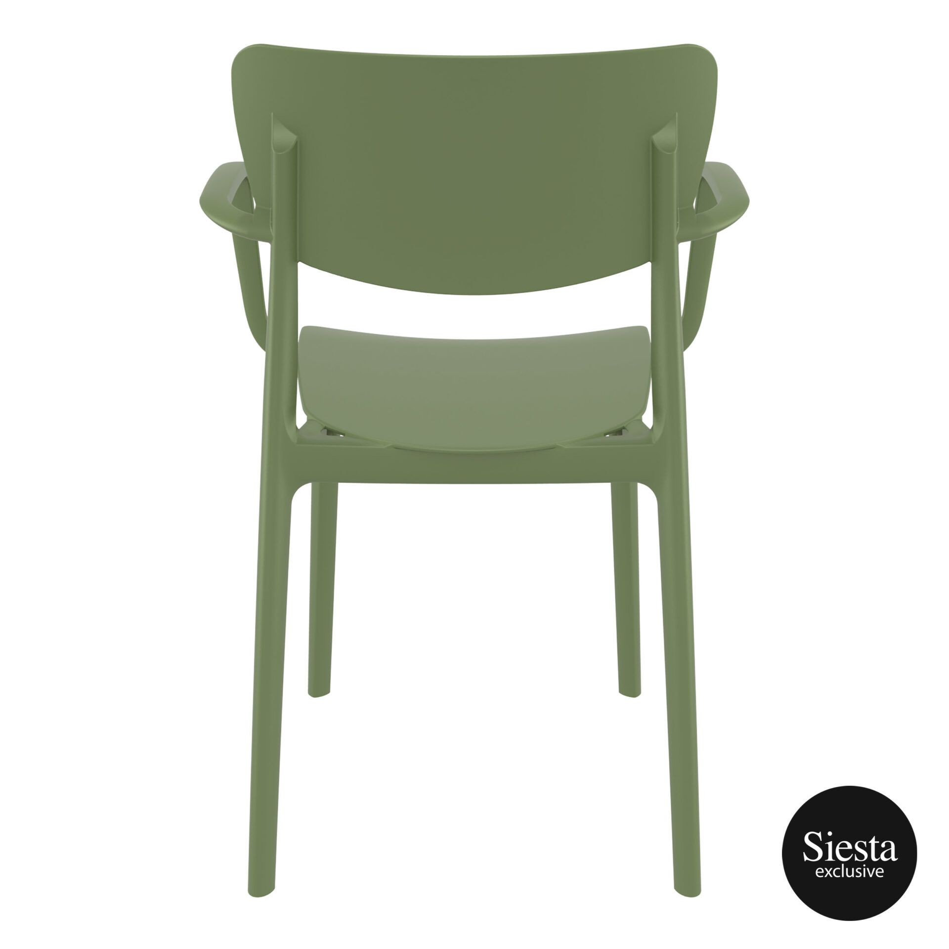 polypropylene hospitality seating lisa armchair olive green back 1
