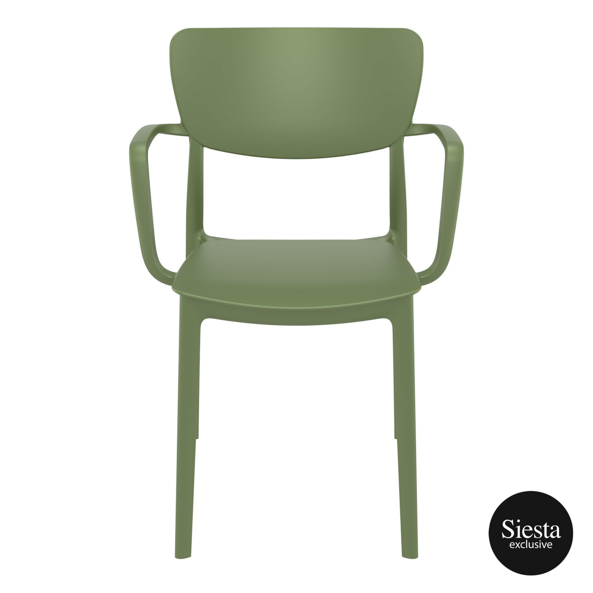 polypropylene hospitality seating lisa armchair olive green front 1