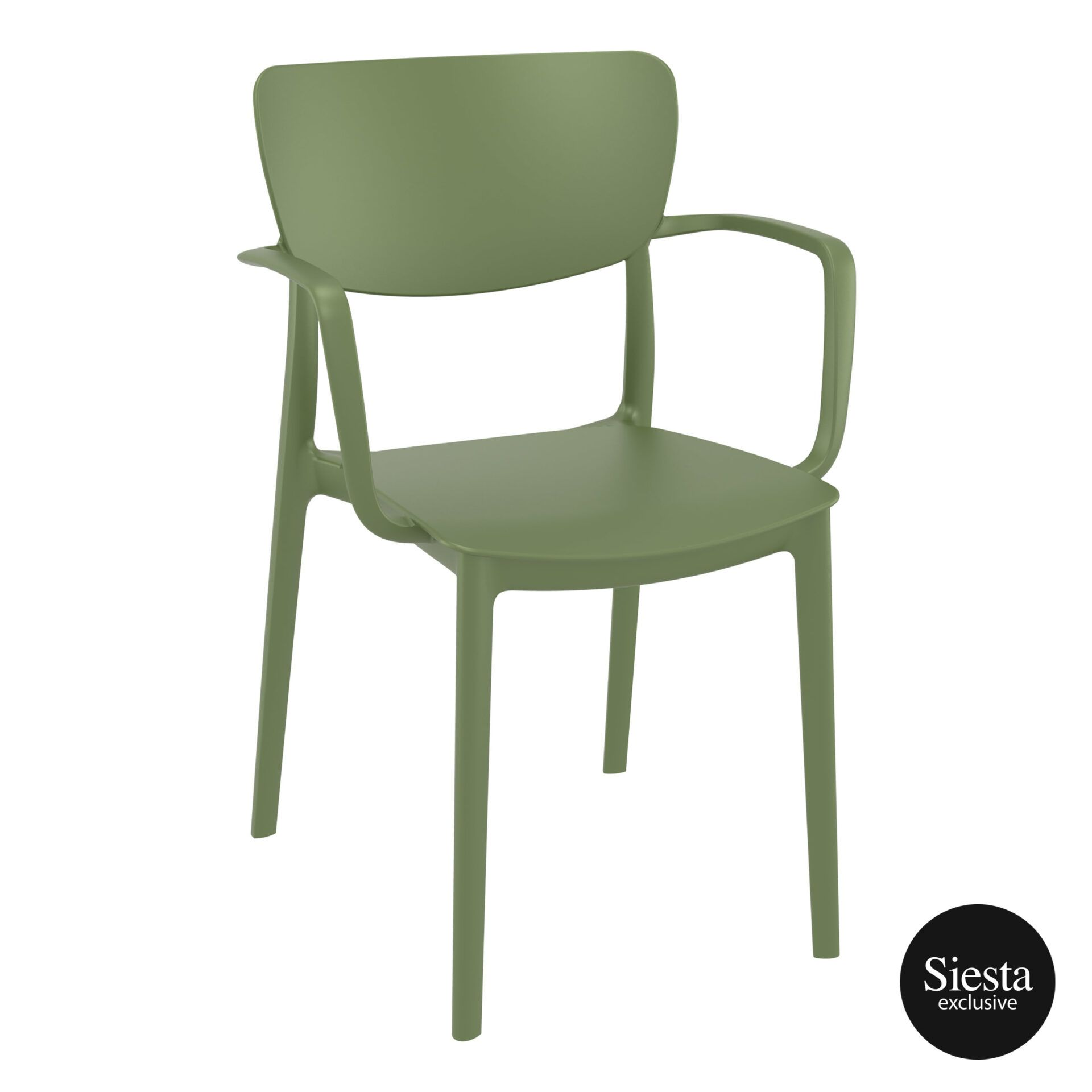 polypropylene hospitality seating lisa armchair olive green front side 1