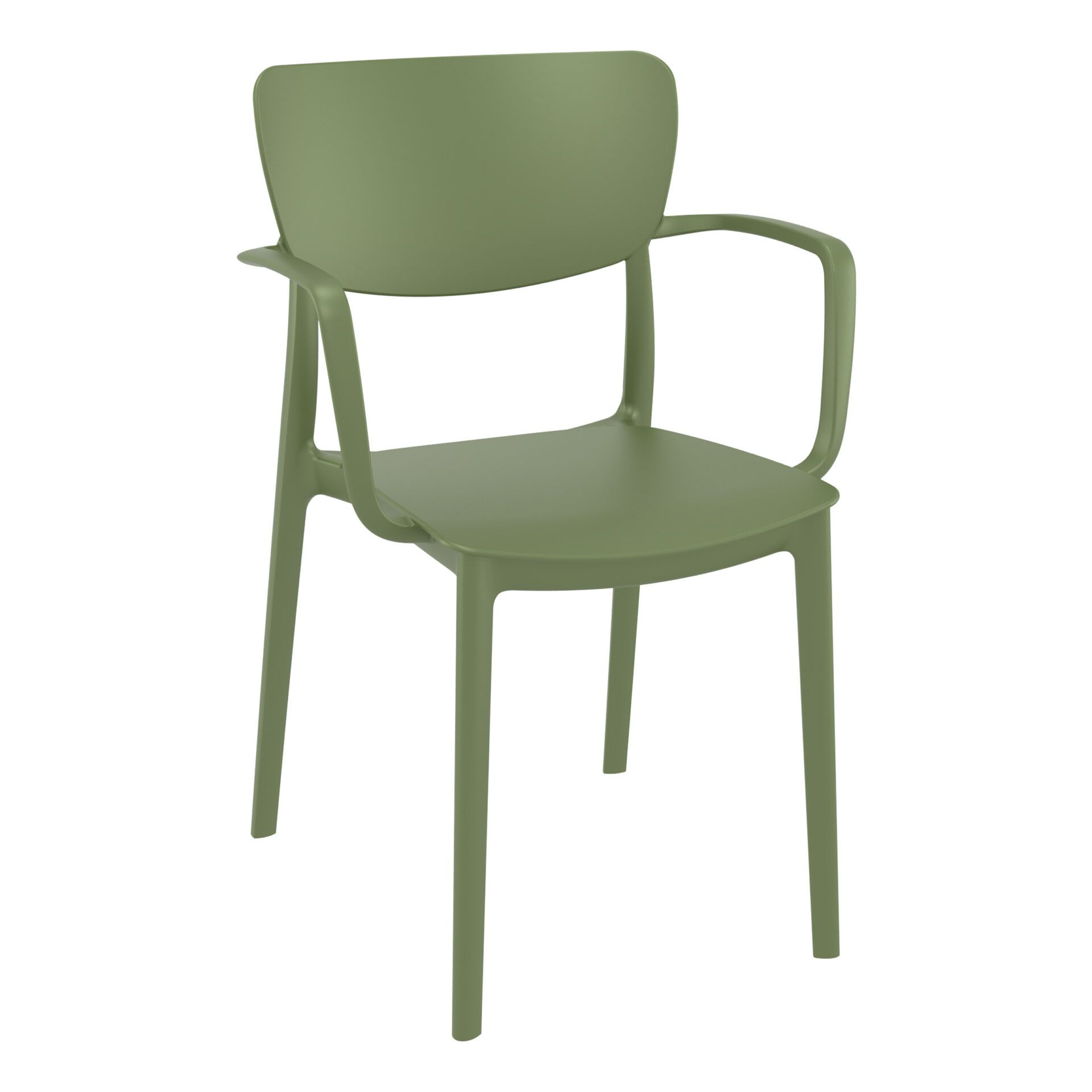 polypropylene hospitality seating lisa armchair olive green front side