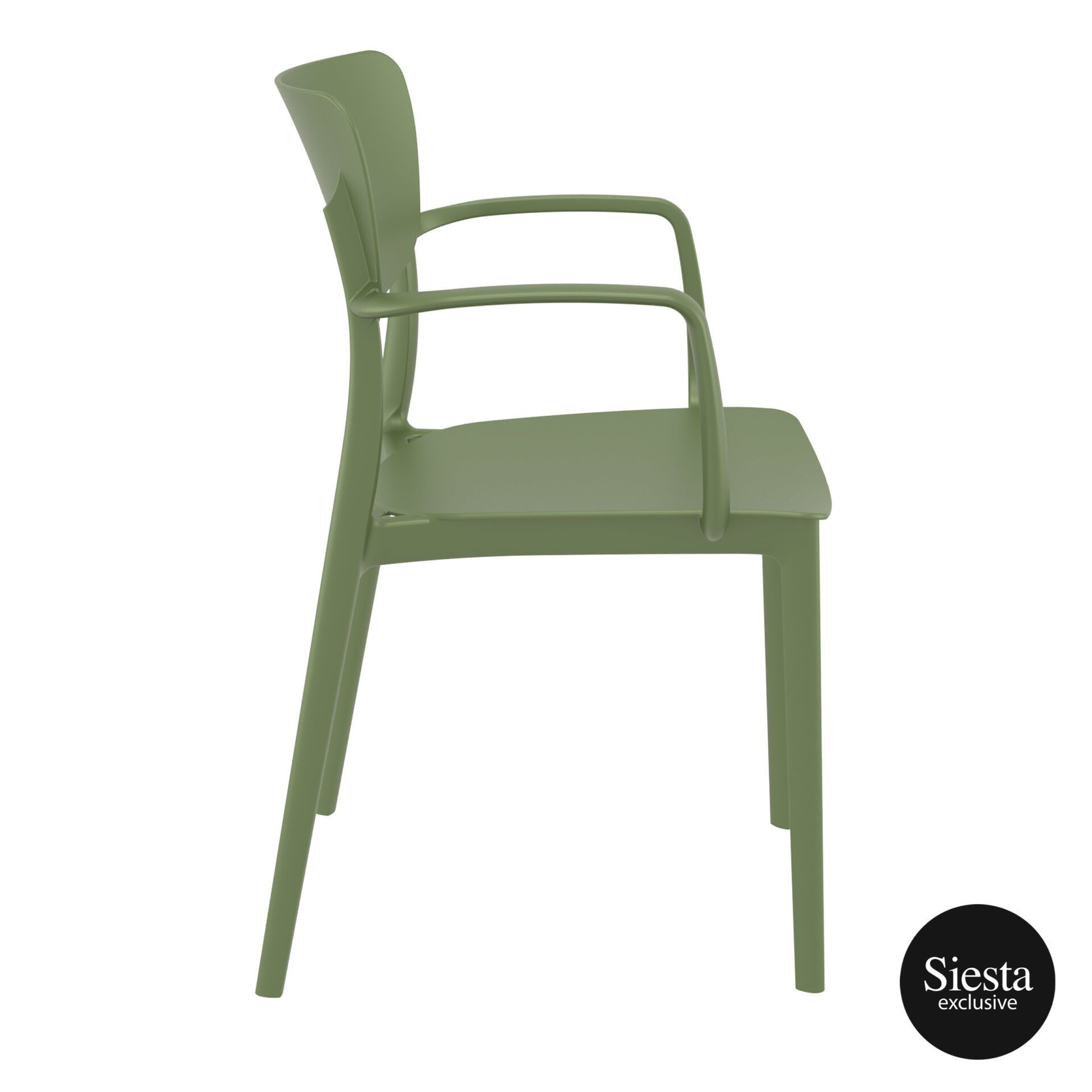 polypropylene hospitality seating lisa armchair olive green side 1