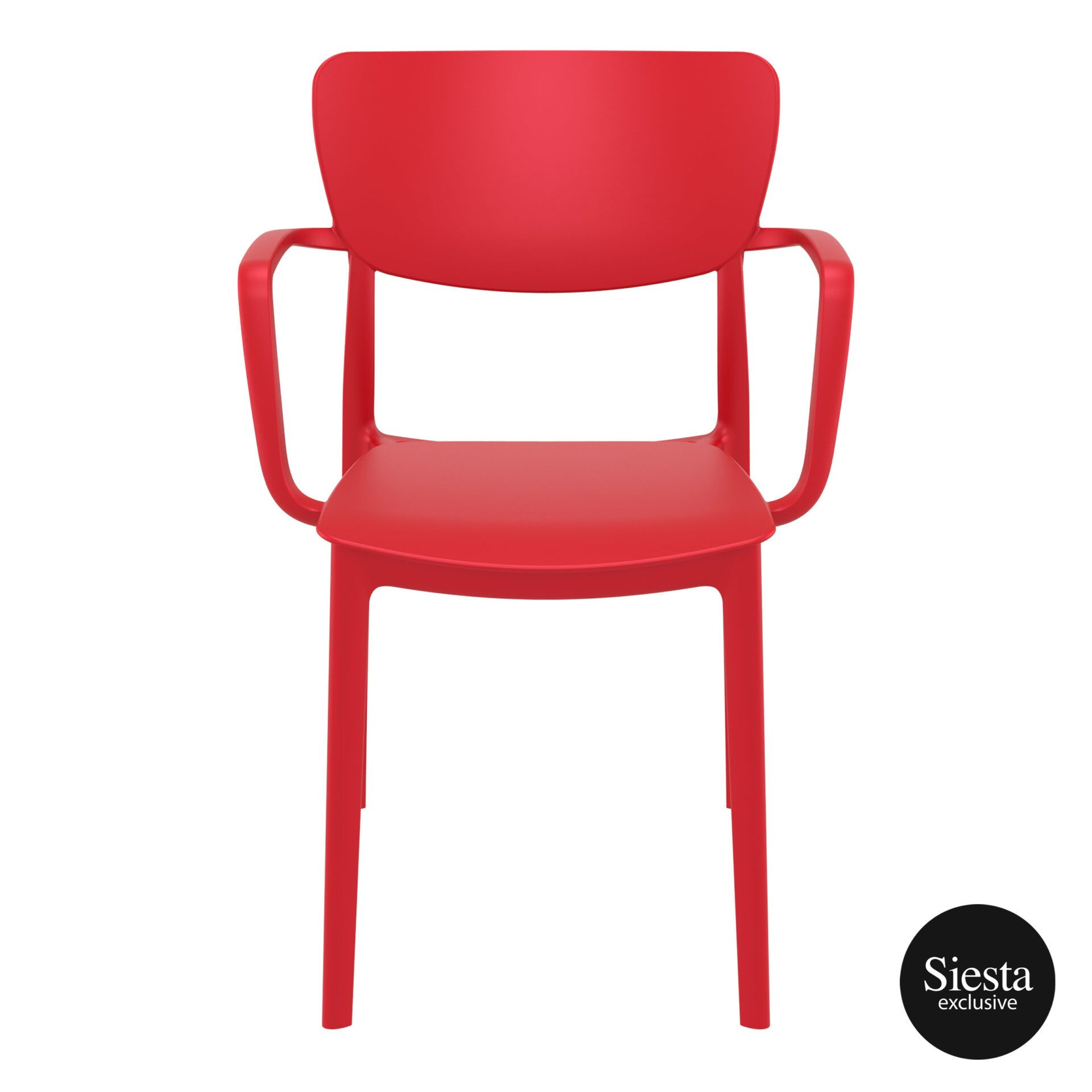 polypropylene hospitality seating lisa armchair red front 1
