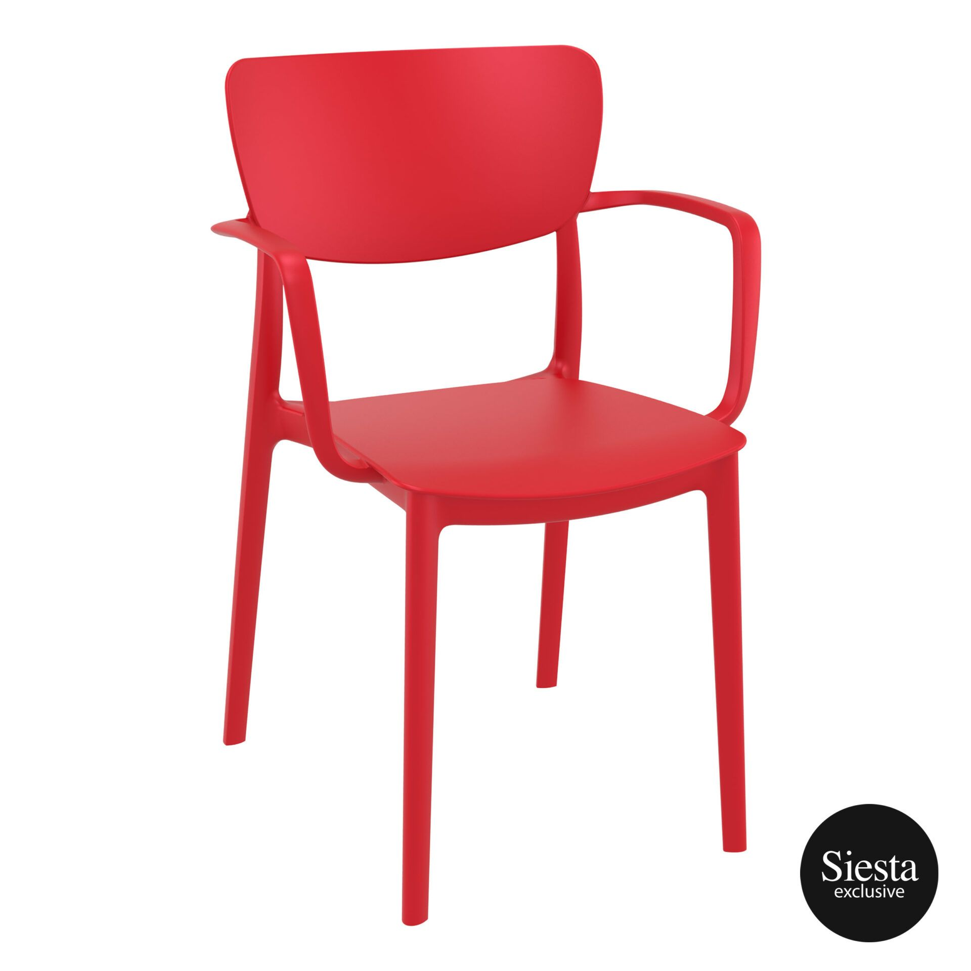 polypropylene hospitality seating lisa armchair red front side 1