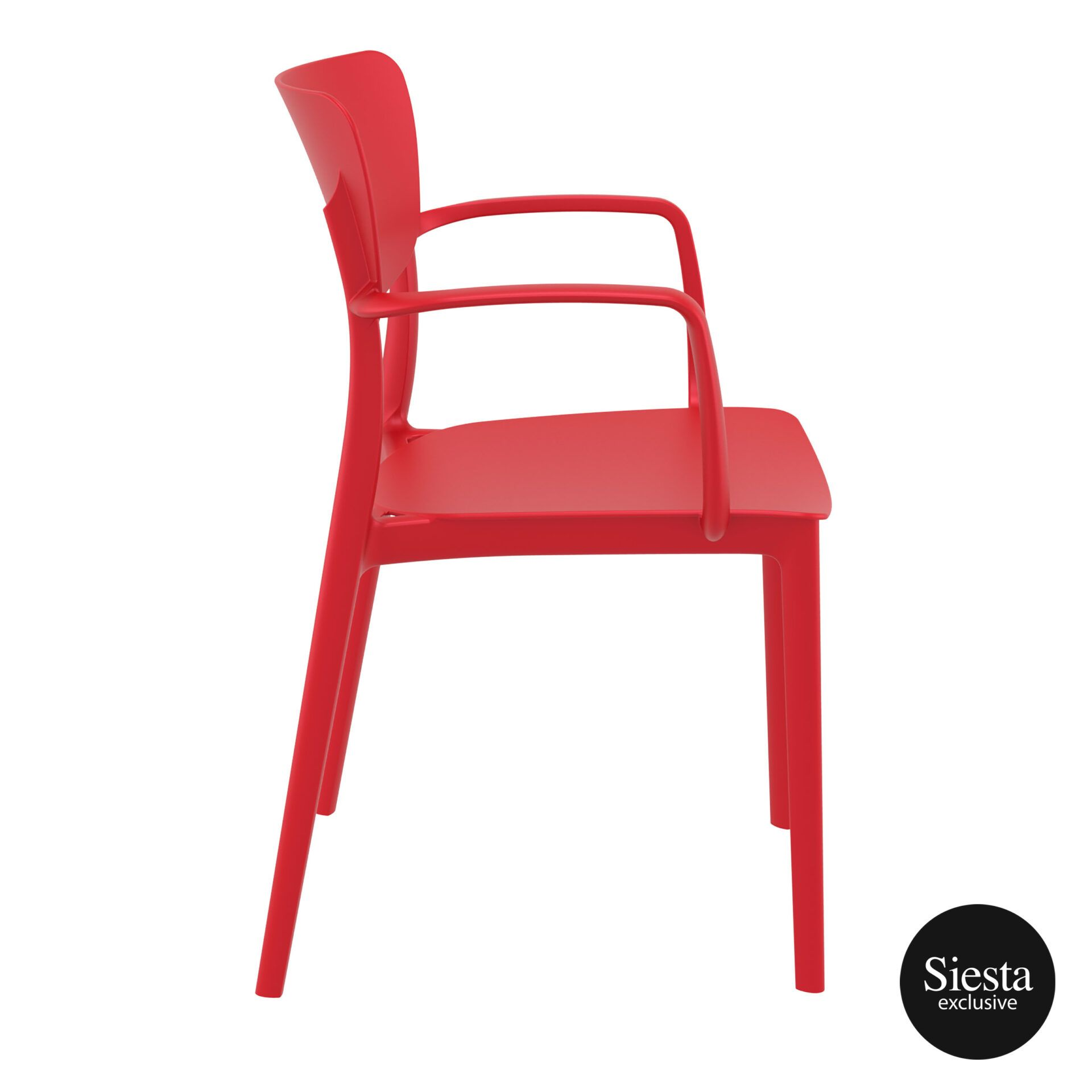 polypropylene hospitality seating lisa armchair red side 1