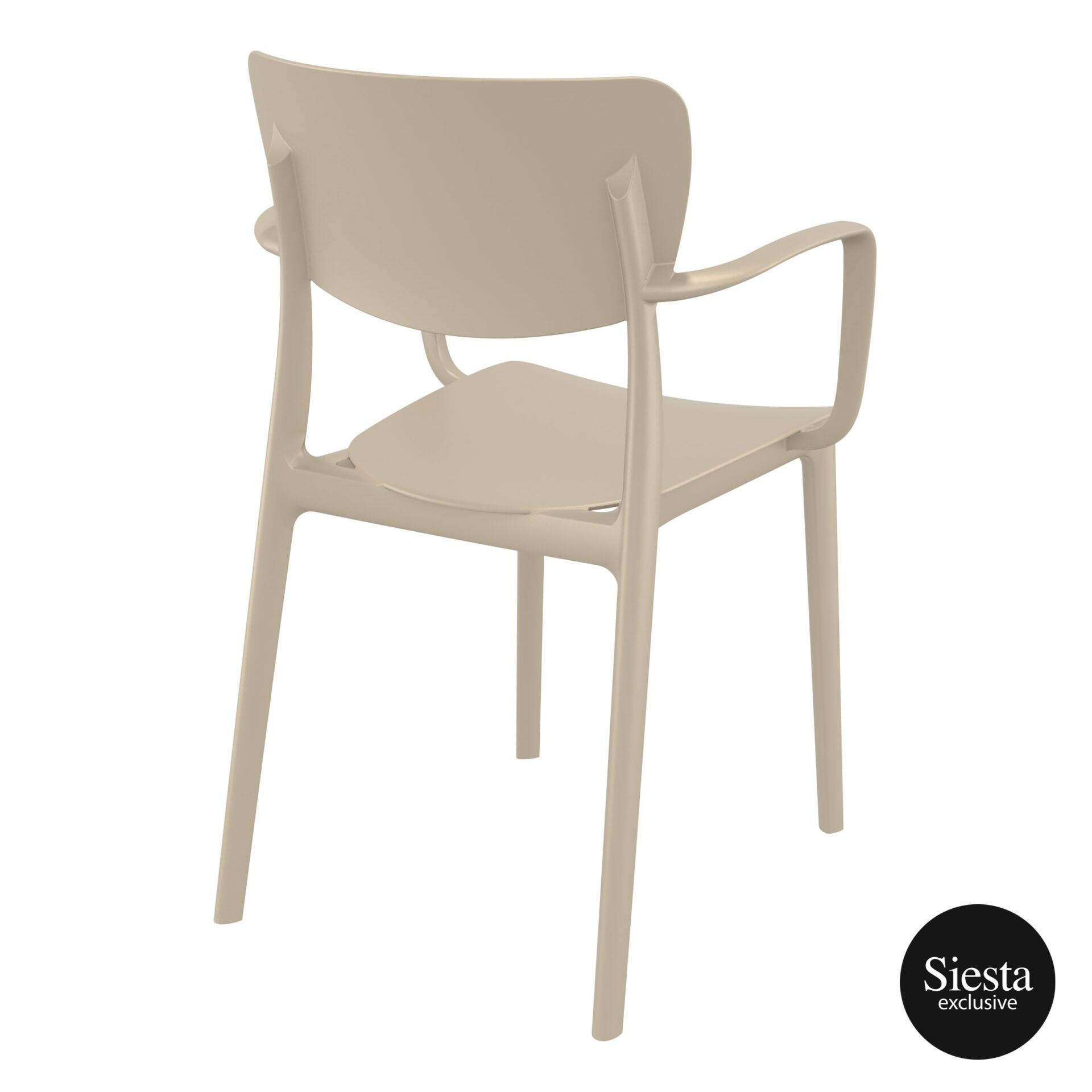 polypropylene hospitality seating lisa armchair taupe back side 1