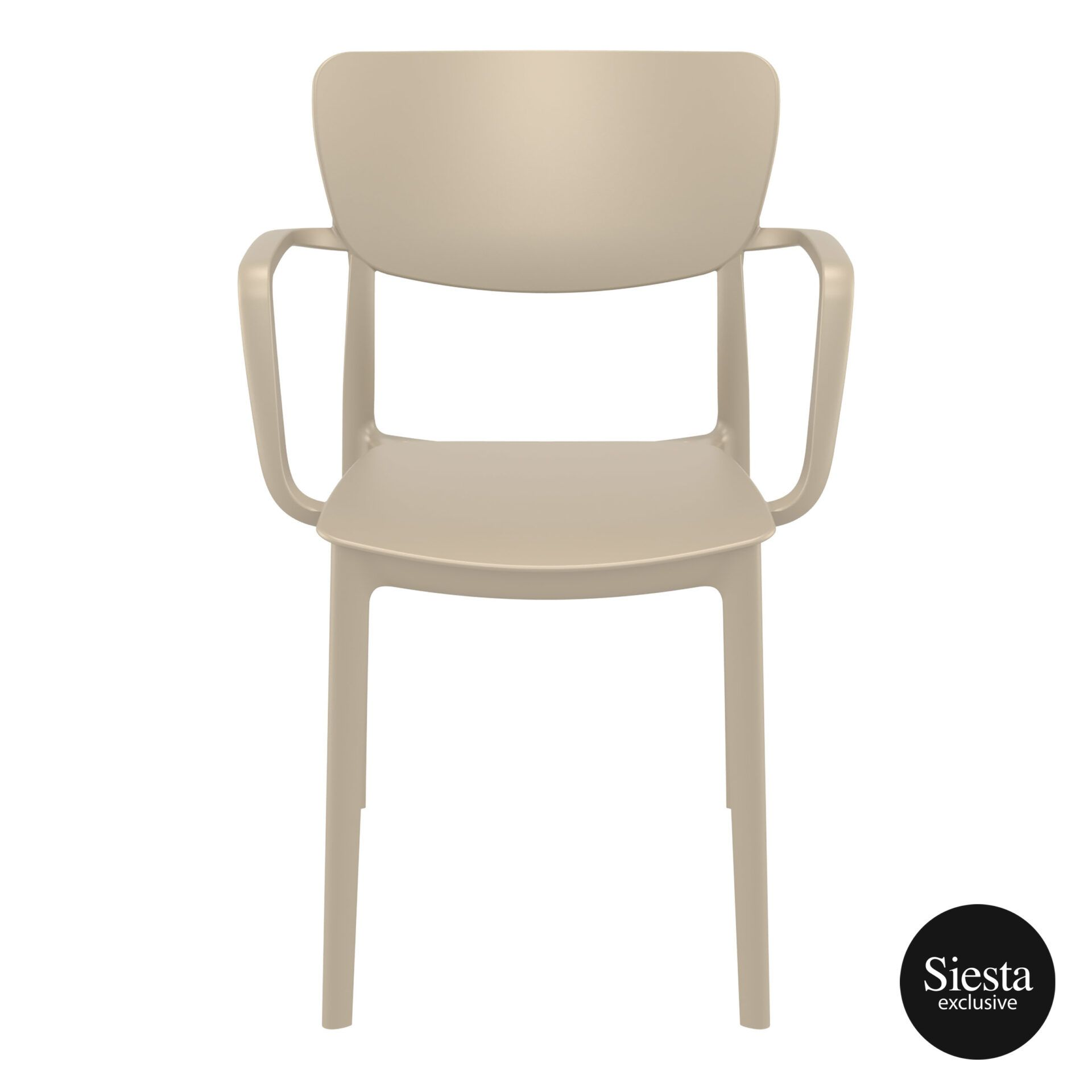 polypropylene hospitality seating lisa armchair taupe front 1