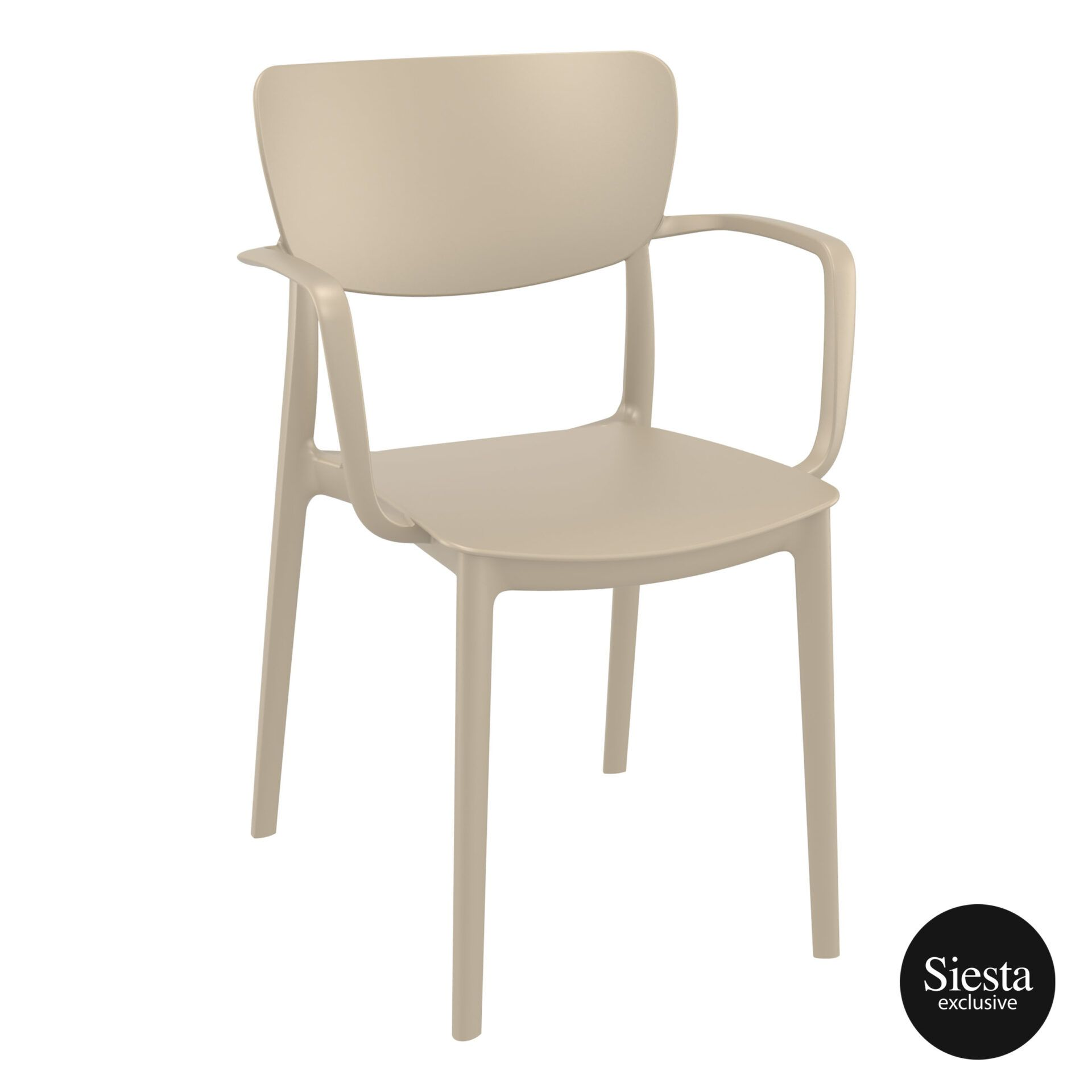 polypropylene hospitality seating lisa armchair taupe front side 1