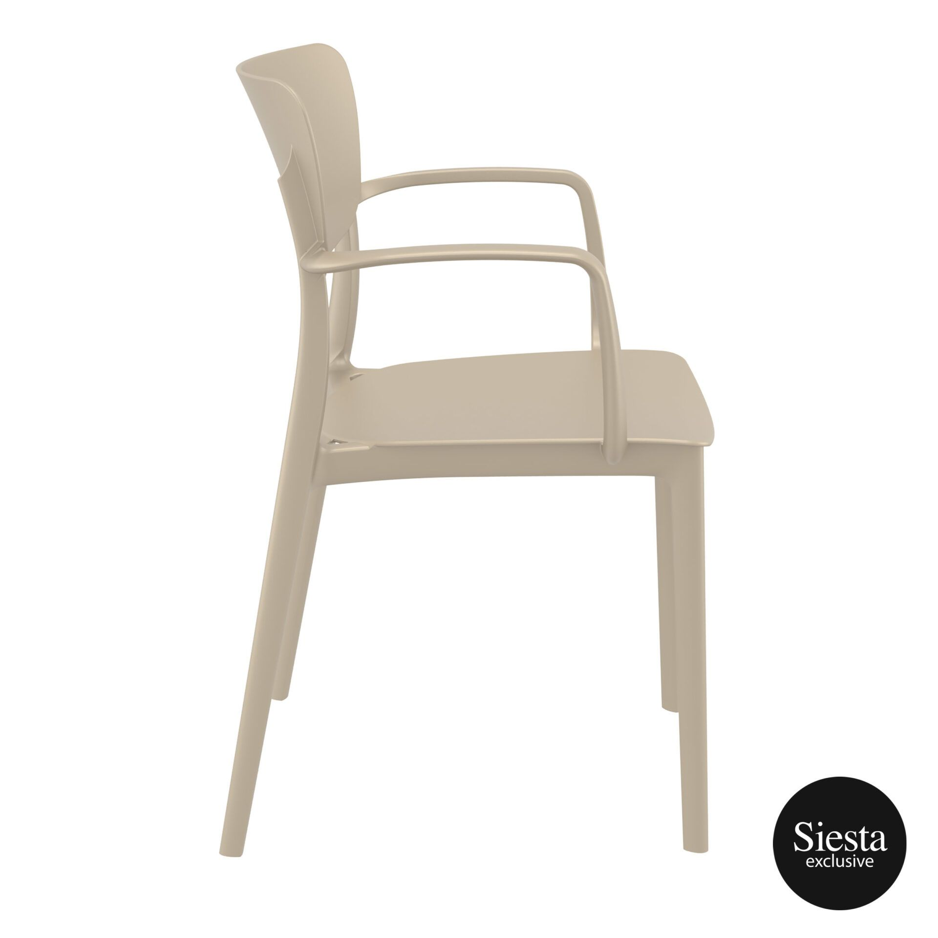 polypropylene hospitality seating lisa armchair taupe side 1