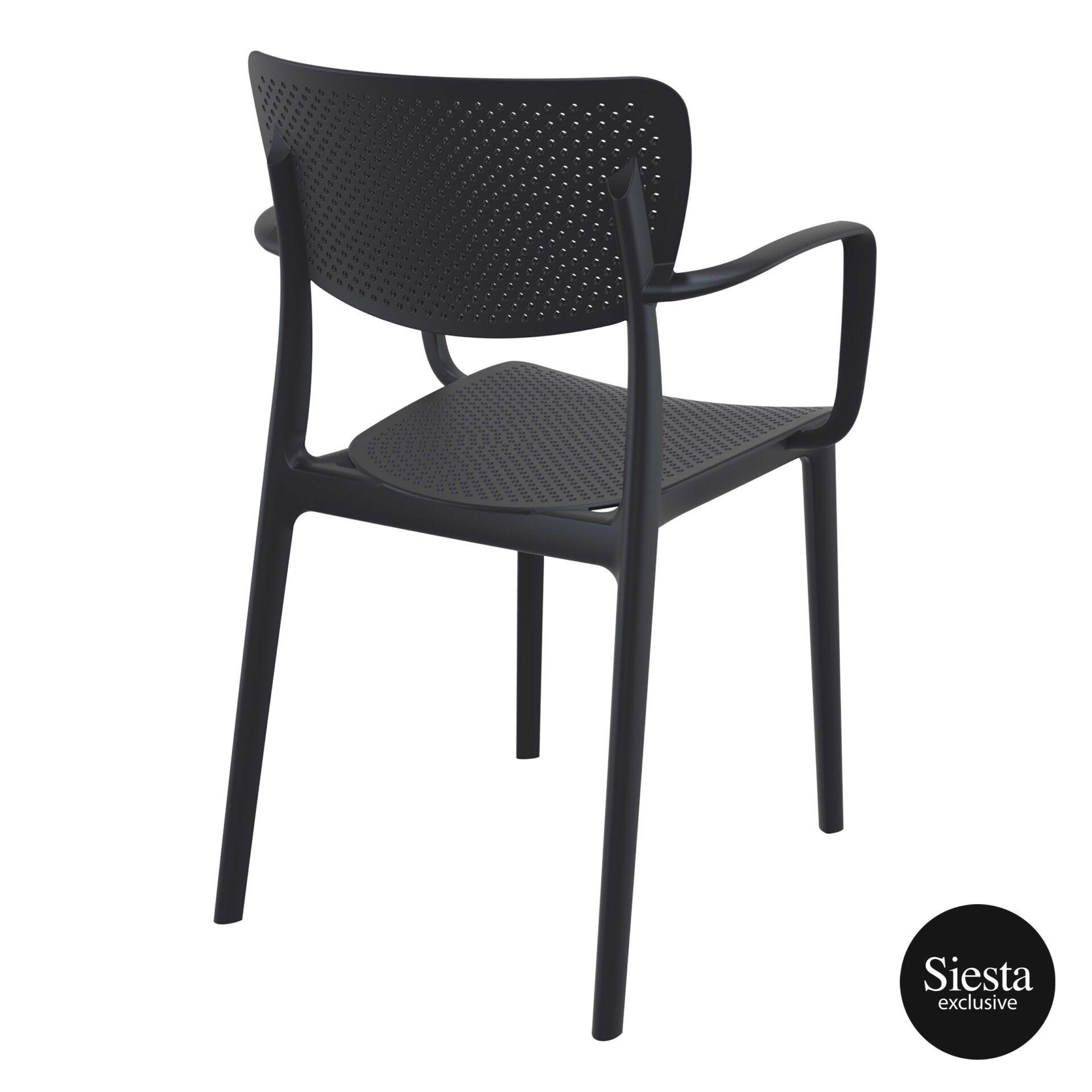 polypropylene hospitality seating loft armchair black back side 1