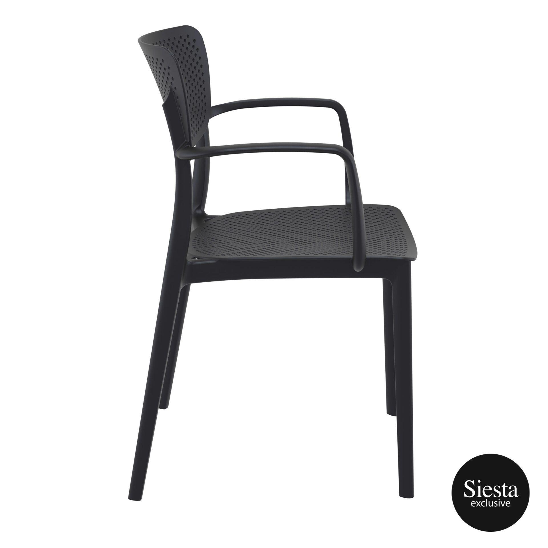 polypropylene hospitality seating loft armchair black side 1