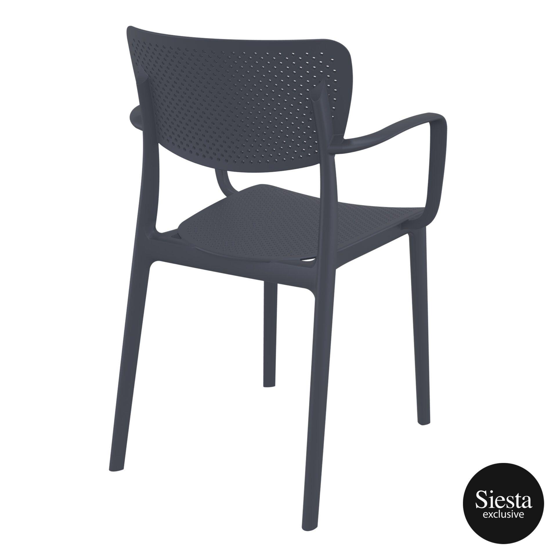 polypropylene hospitality seating loft armchair darkgrey back side 2