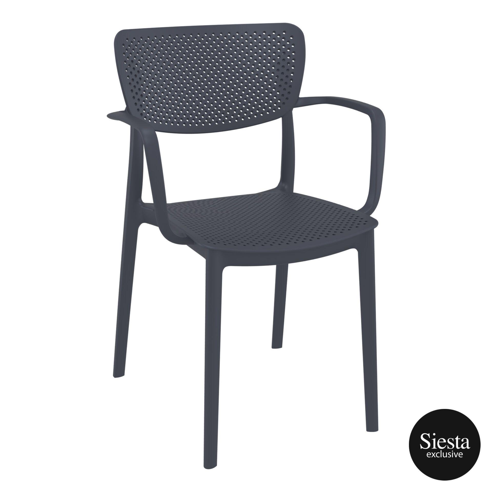 polypropylene hospitality seating loft armchair darkgrey front side 2
