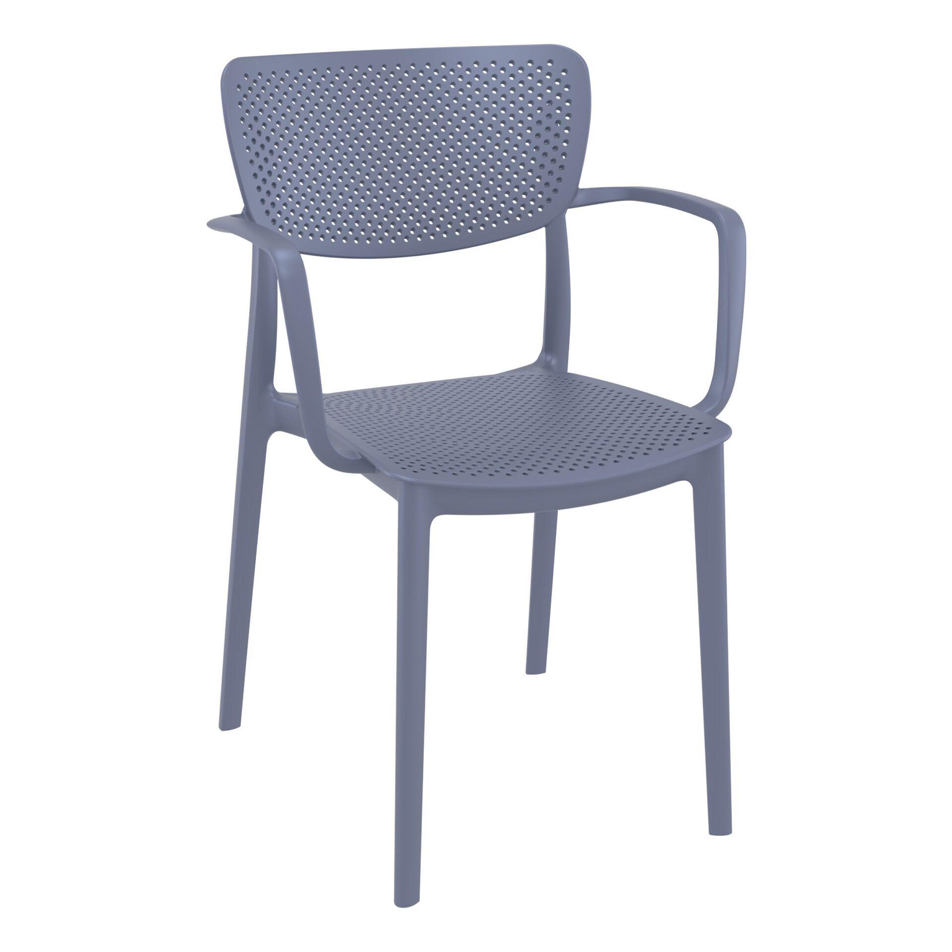 polypropylene hospitality seating loft armchair darkgrey front side