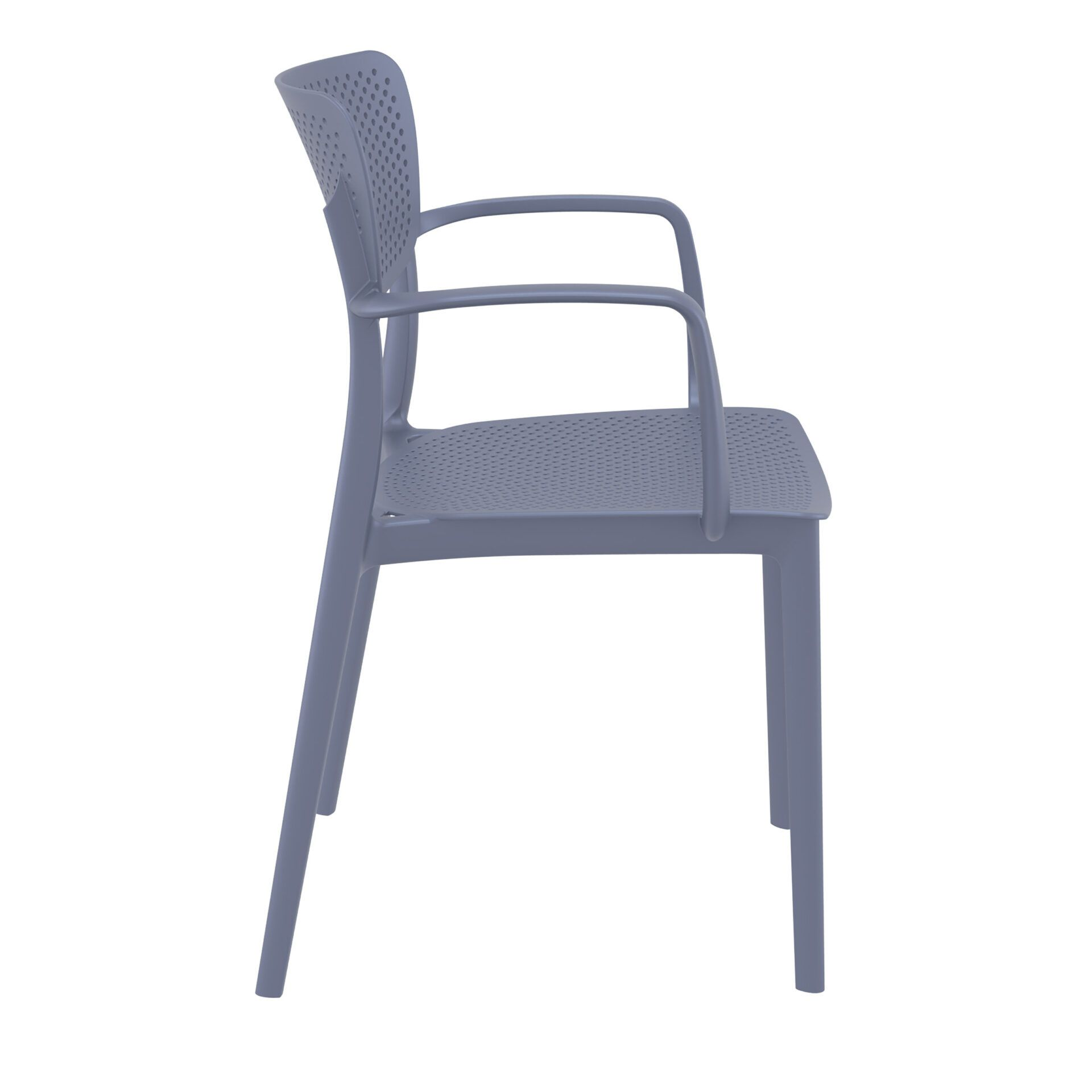 polypropylene hospitality seating loft armchair darkgrey side