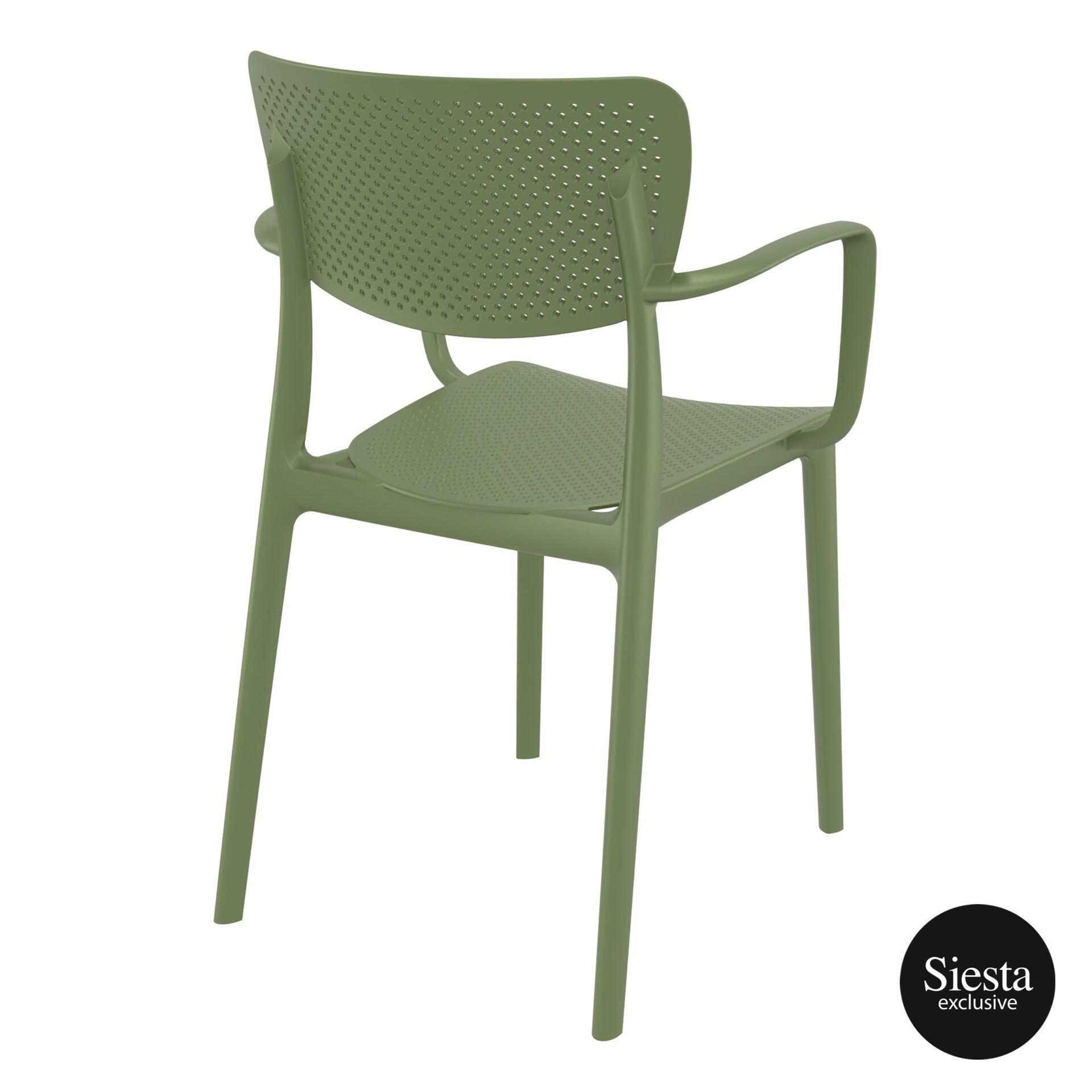 polypropylene hospitality seating loft armchair olive green back side 1