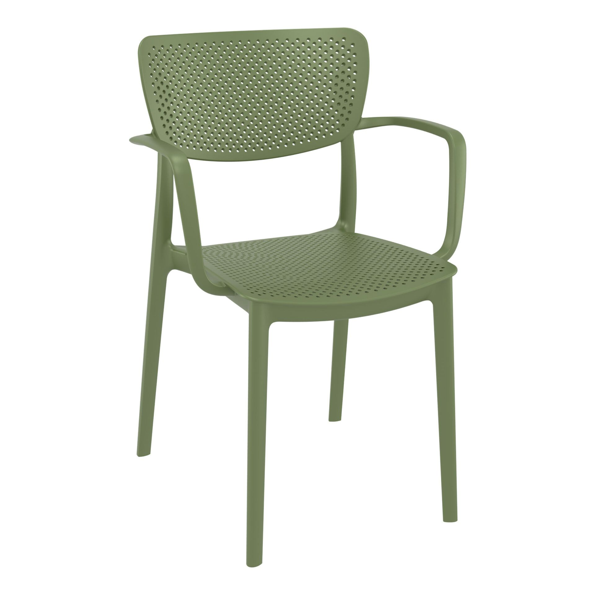 polypropylene hospitality seating loft armchair olive green front side