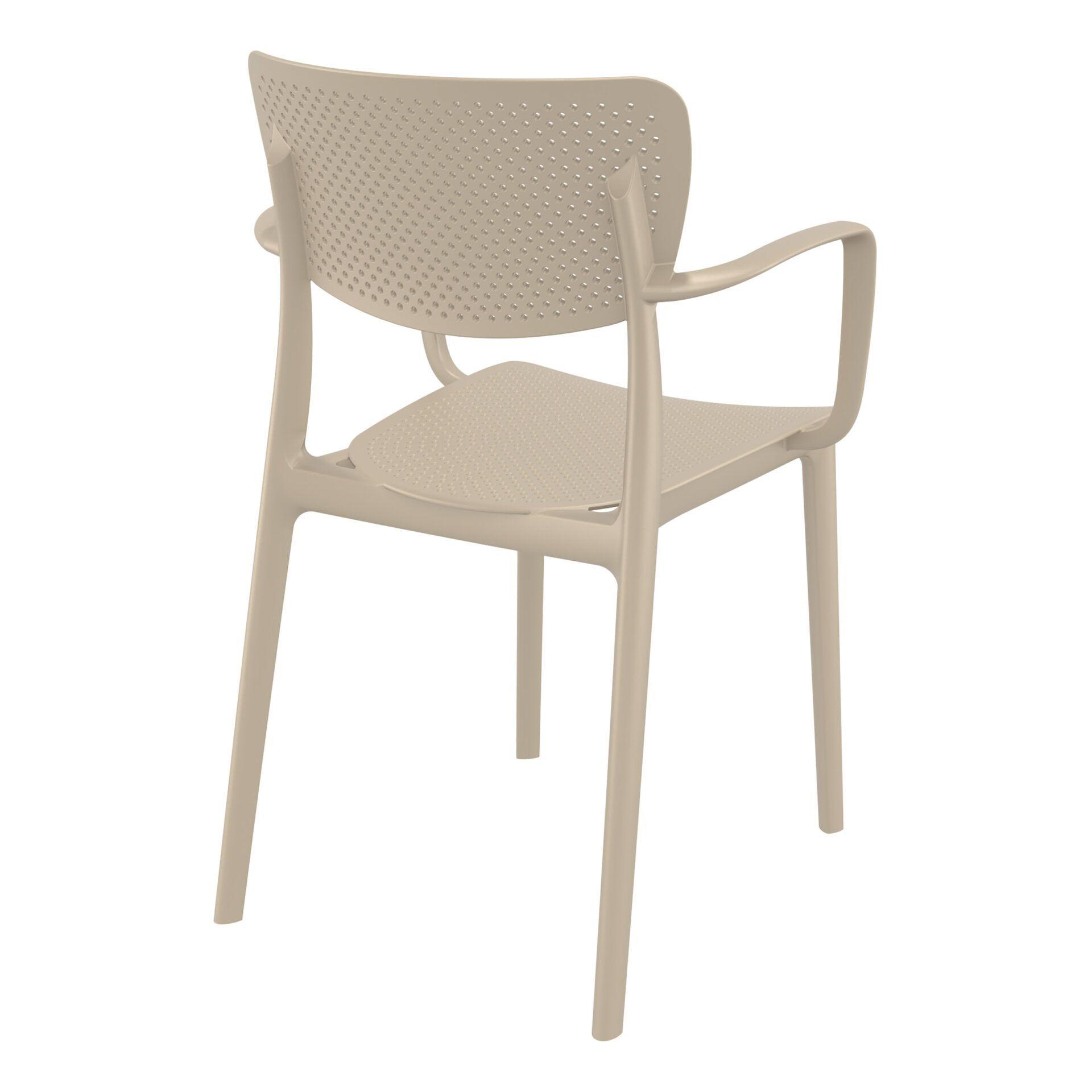 polypropylene hospitality seating loft armchair taupe back side