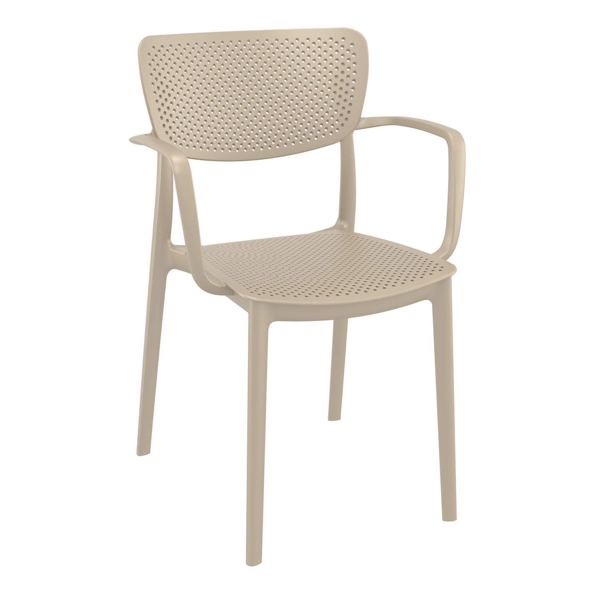 polypropylene hospitality seating loft armchair taupe front side