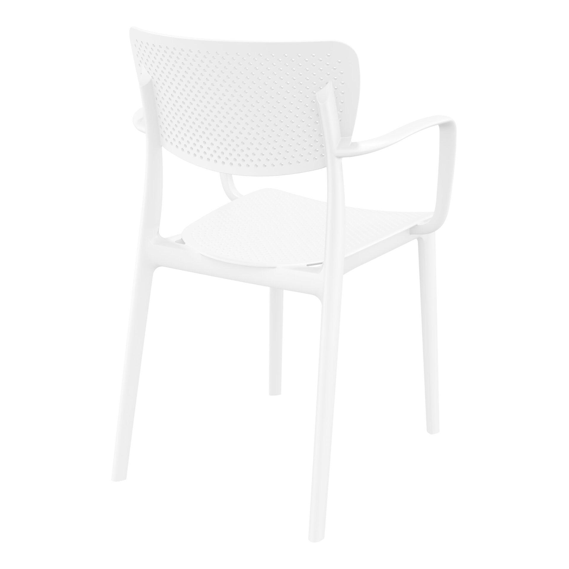 polypropylene hospitality seating loft armchair white back side