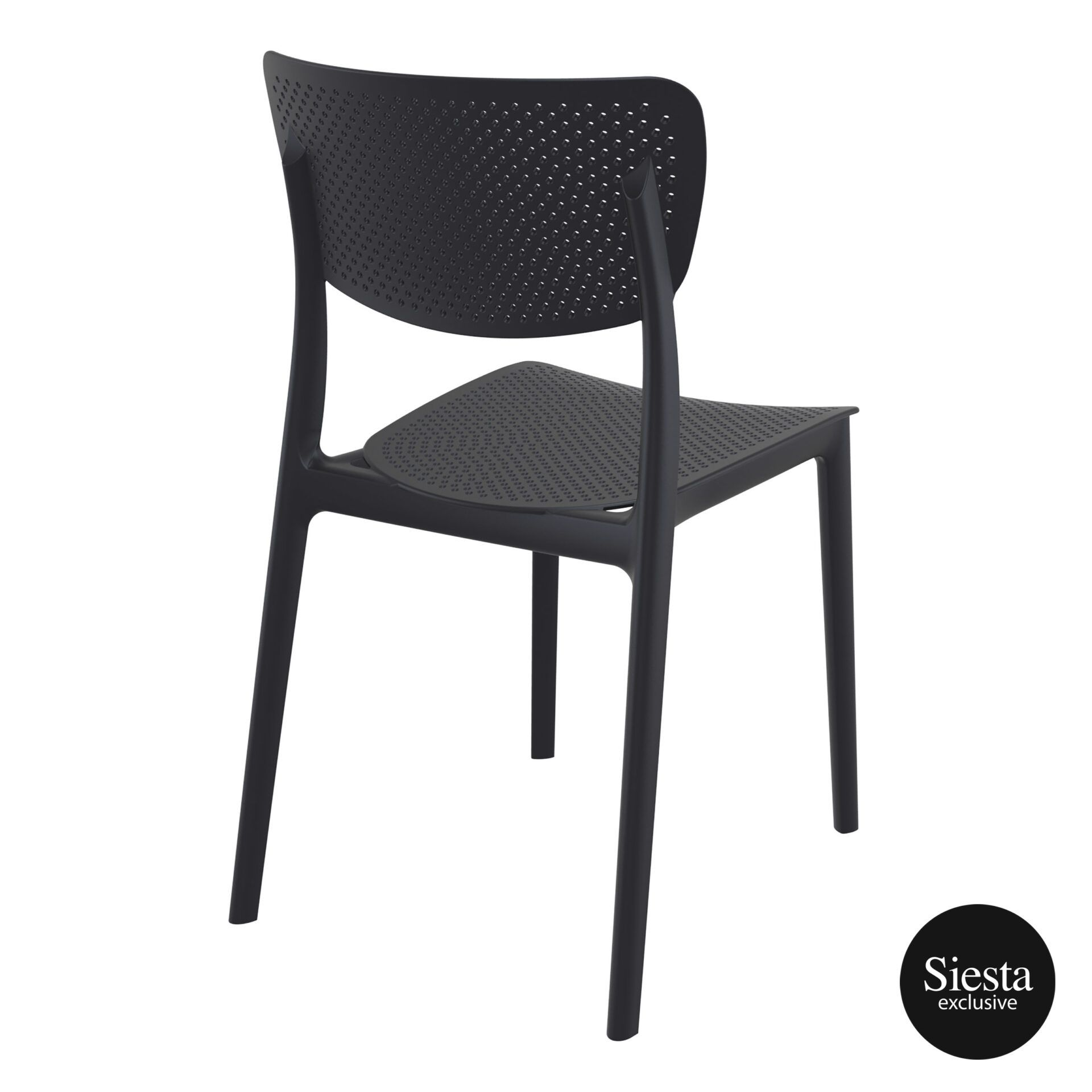 polypropylene hospitality seating lucy chair black back side 1