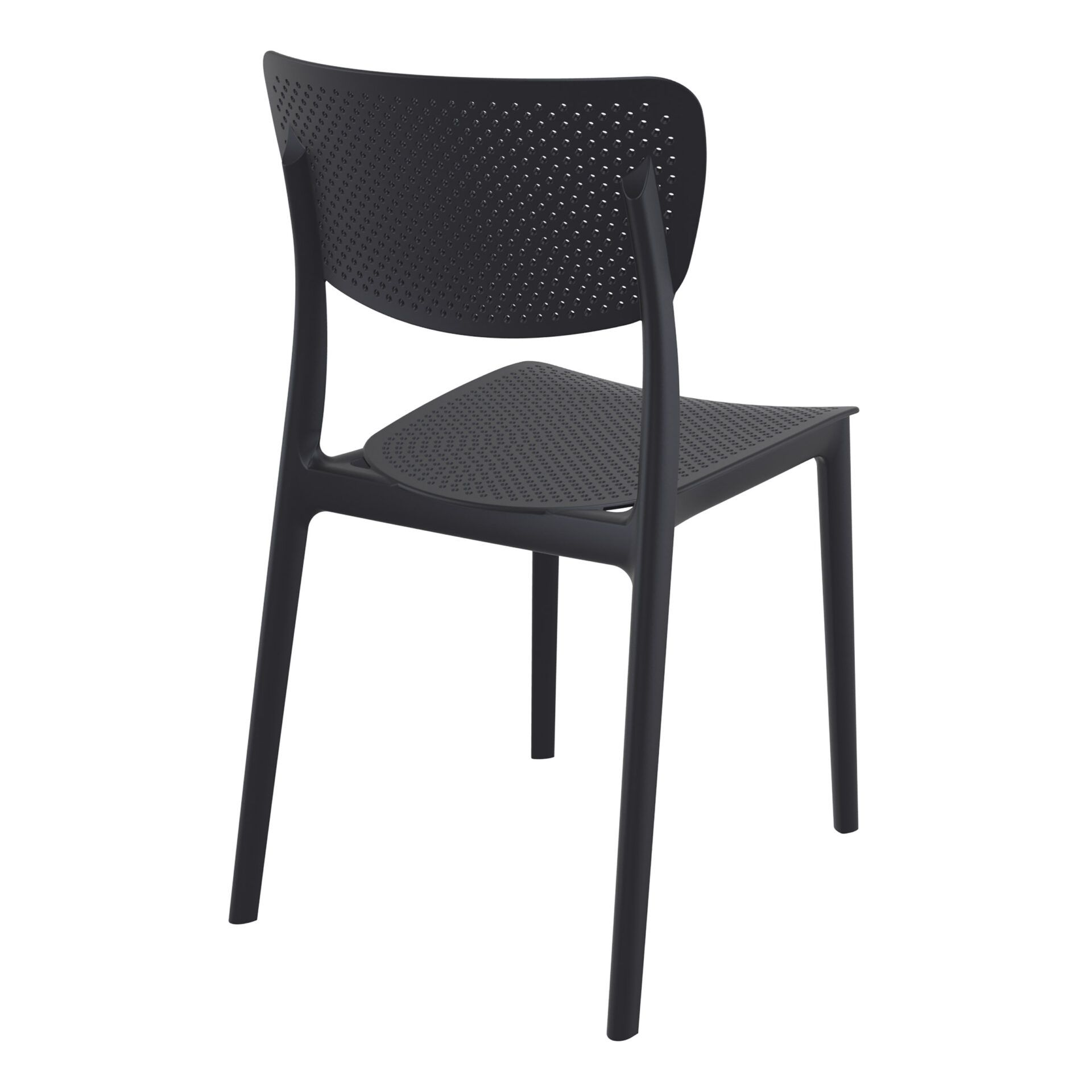 polypropylene hospitality seating lucy chair black back side