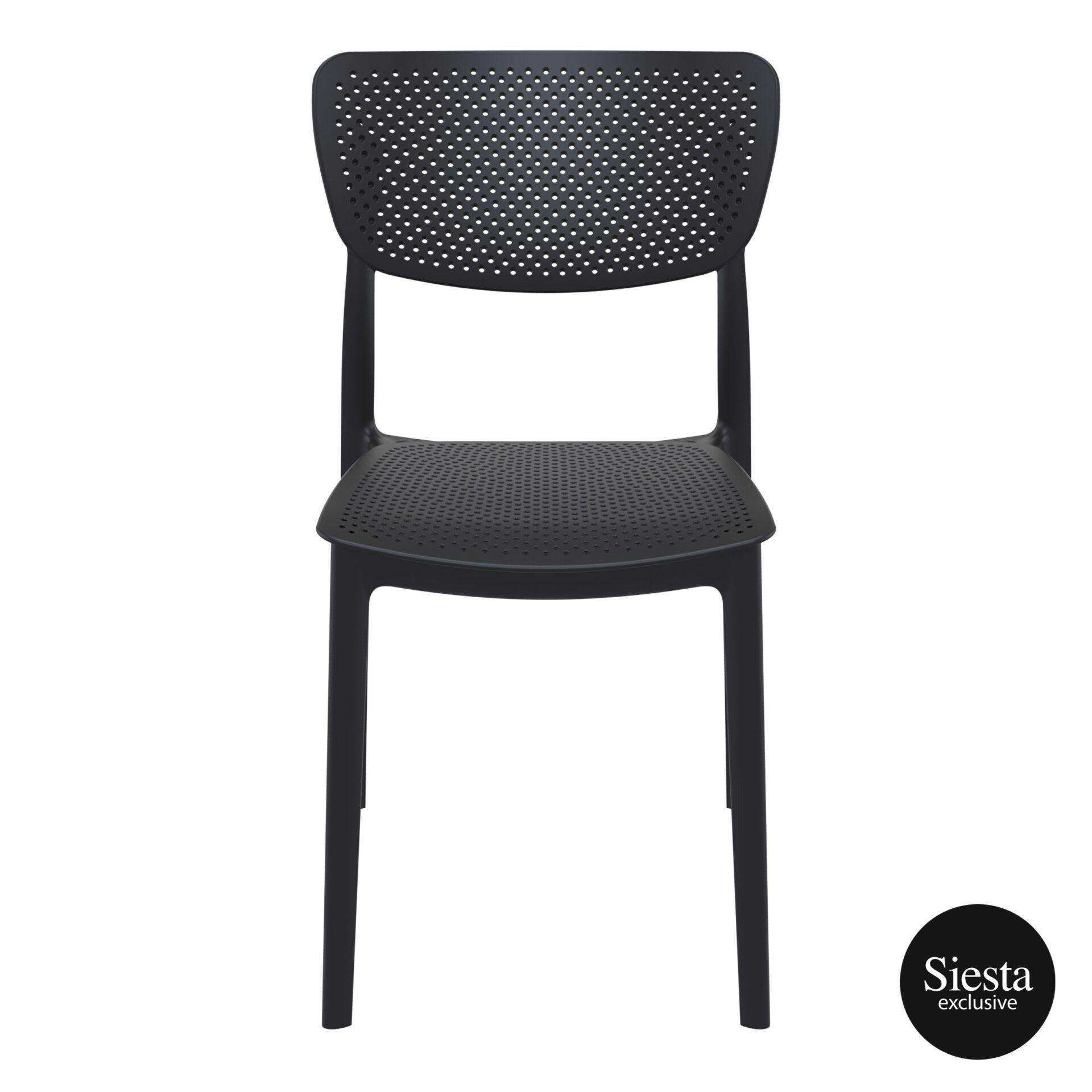 polypropylene hospitality seating lucy chair black front 1