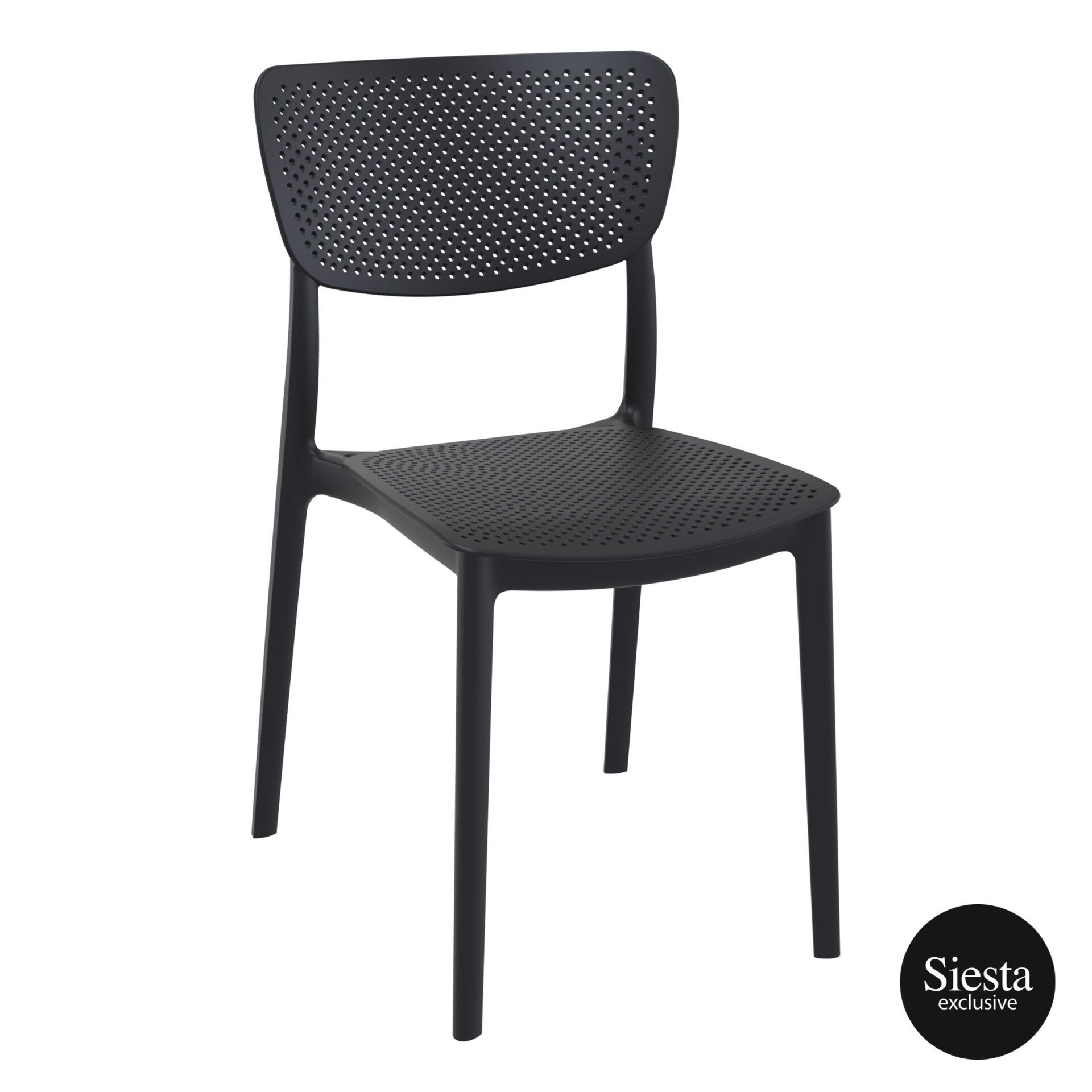 polypropylene hospitality seating lucy chair black front side 1