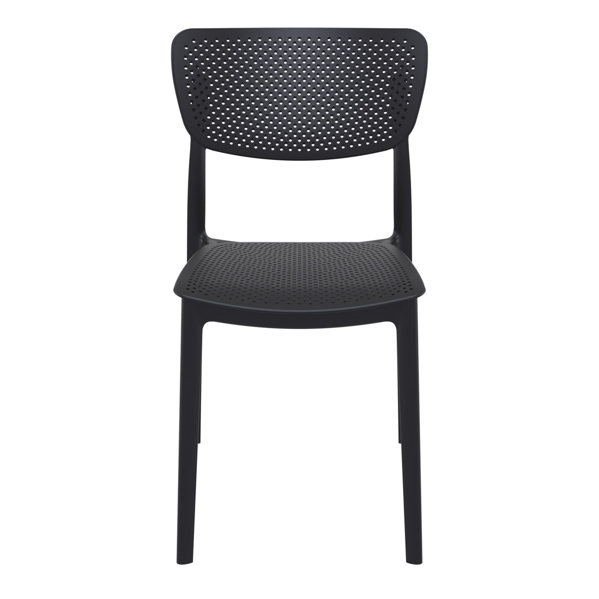 polypropylene hospitality seating lucy chair black front