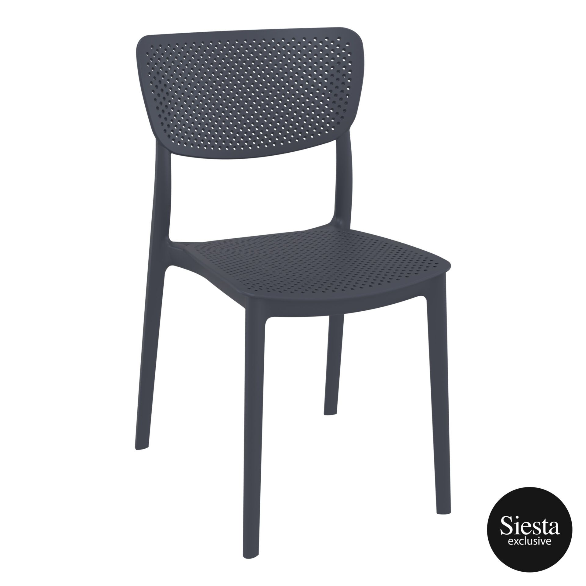 polypropylene hospitality seating lucy chair darkgrey front side 2