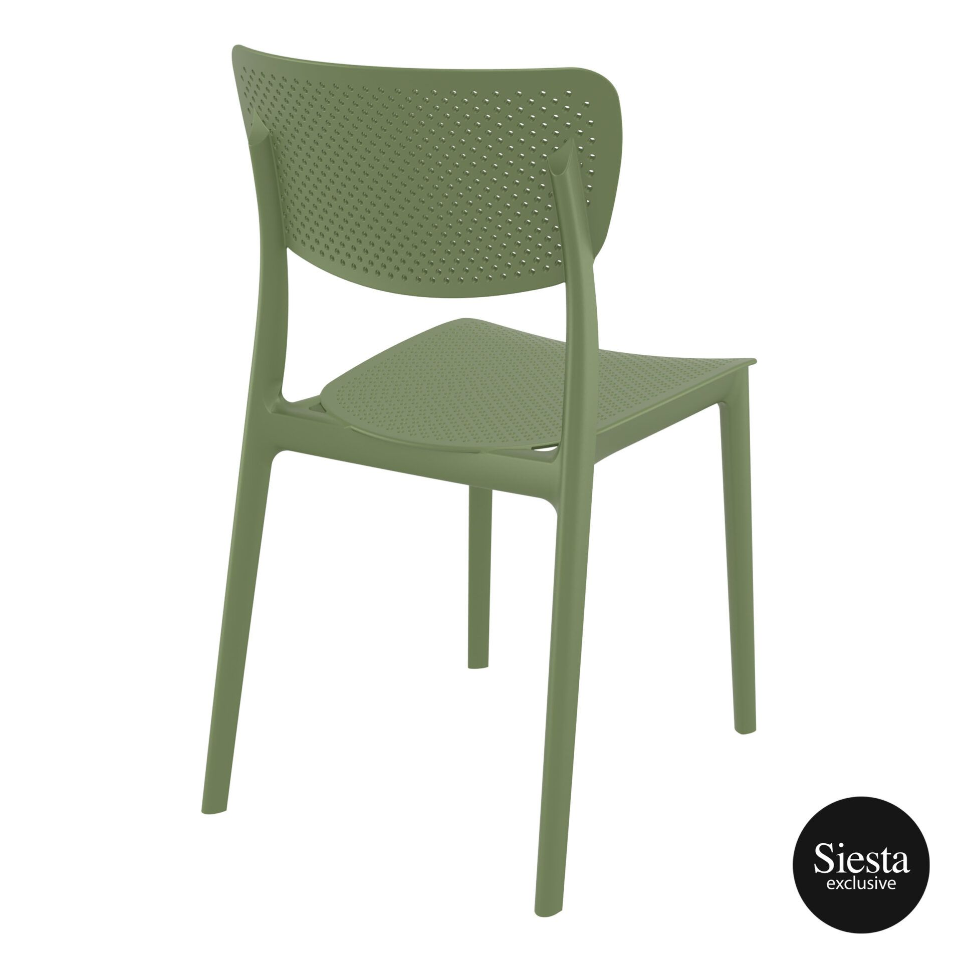 polypropylene hospitality seating lucy chair olive green back side 1