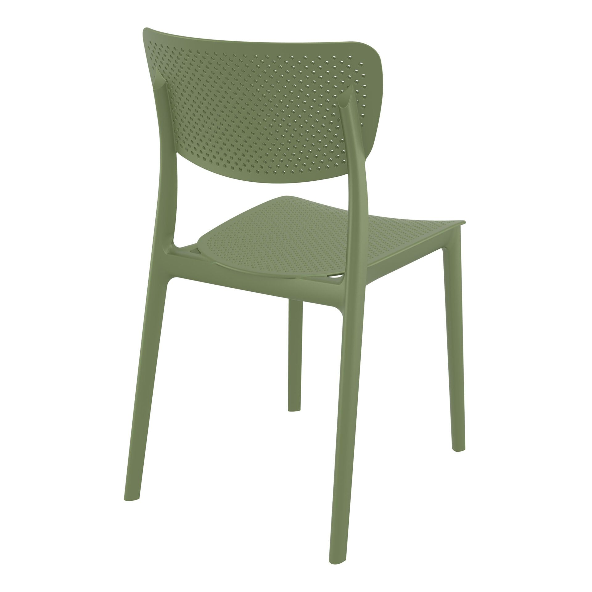 polypropylene hospitality seating lucy chair olive green back side