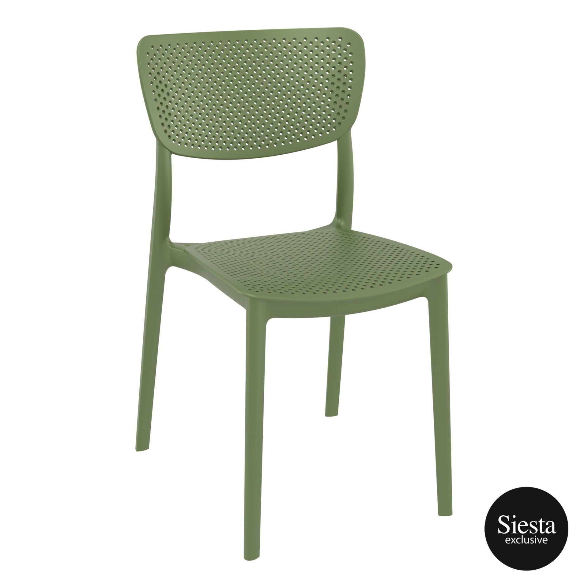 polypropylene hospitality seating lucy chair olive green front side 1