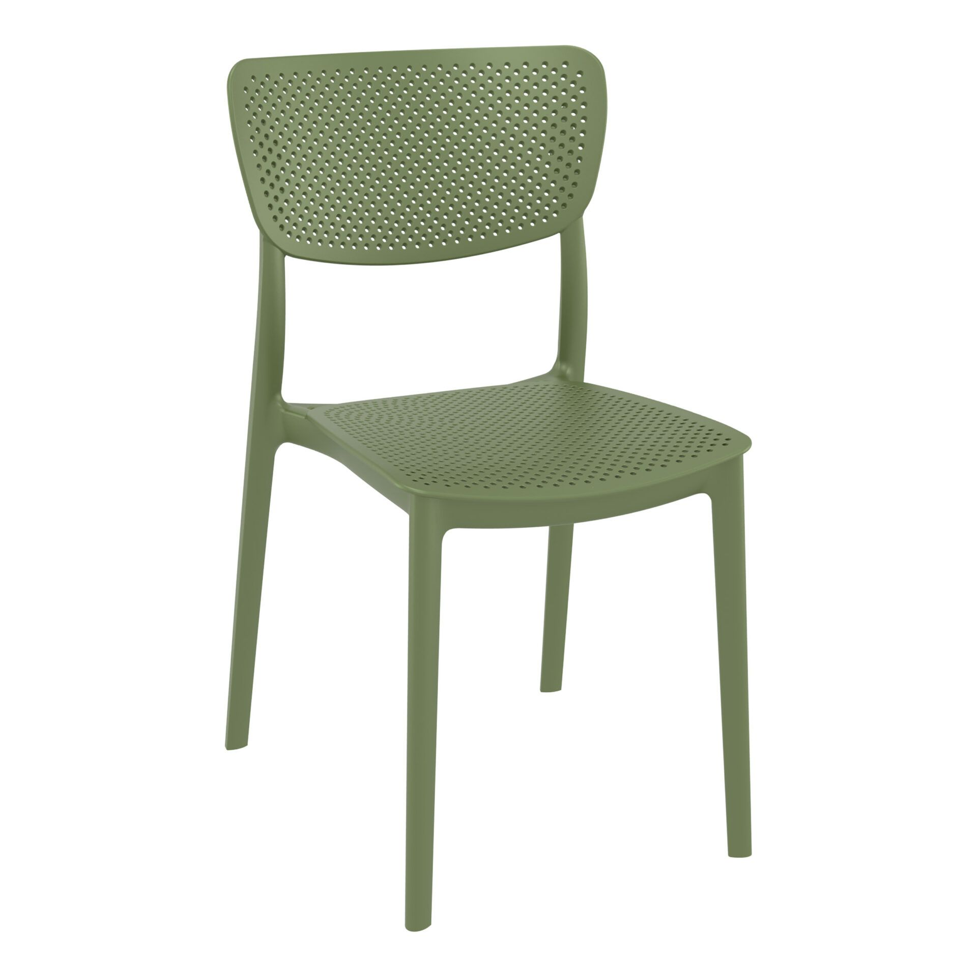 polypropylene hospitality seating lucy chair olive green front side