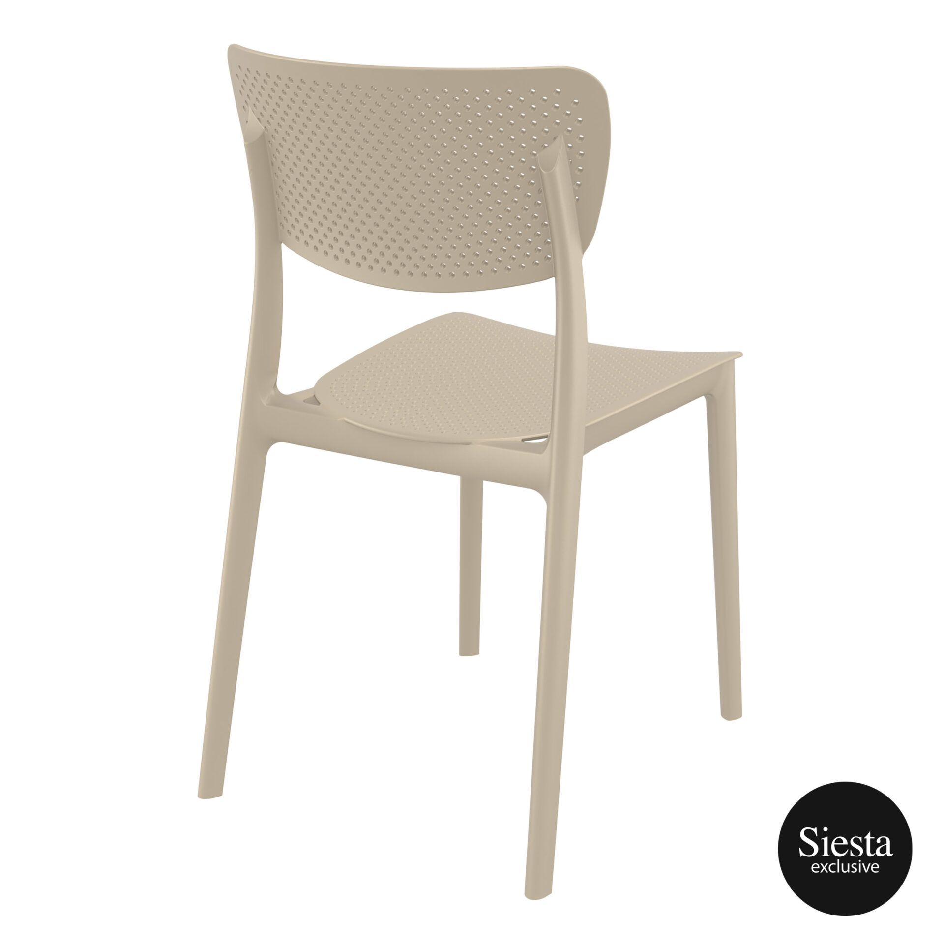 polypropylene hospitality seating lucy chair taupe back side 1