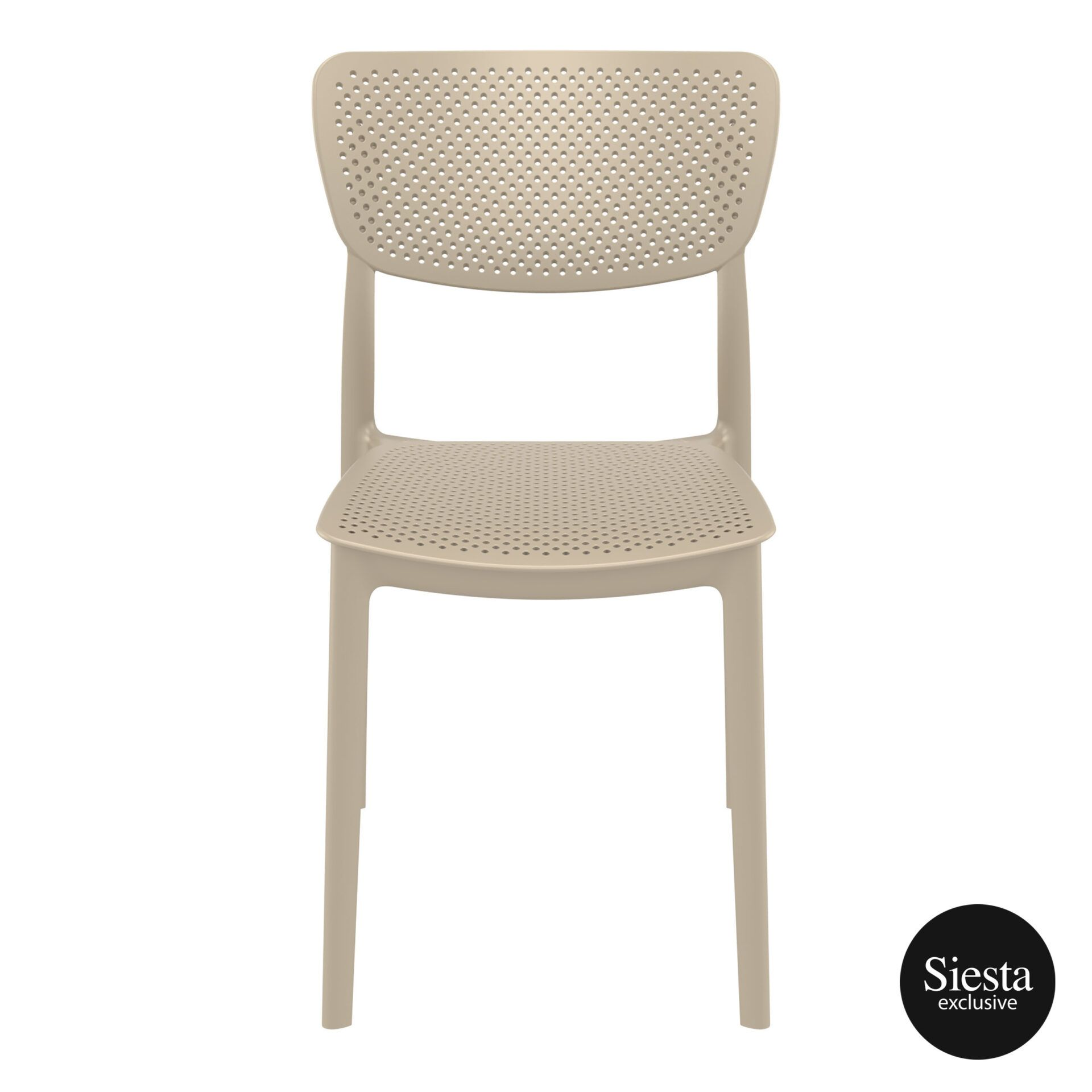 polypropylene hospitality seating lucy chair taupe front 1