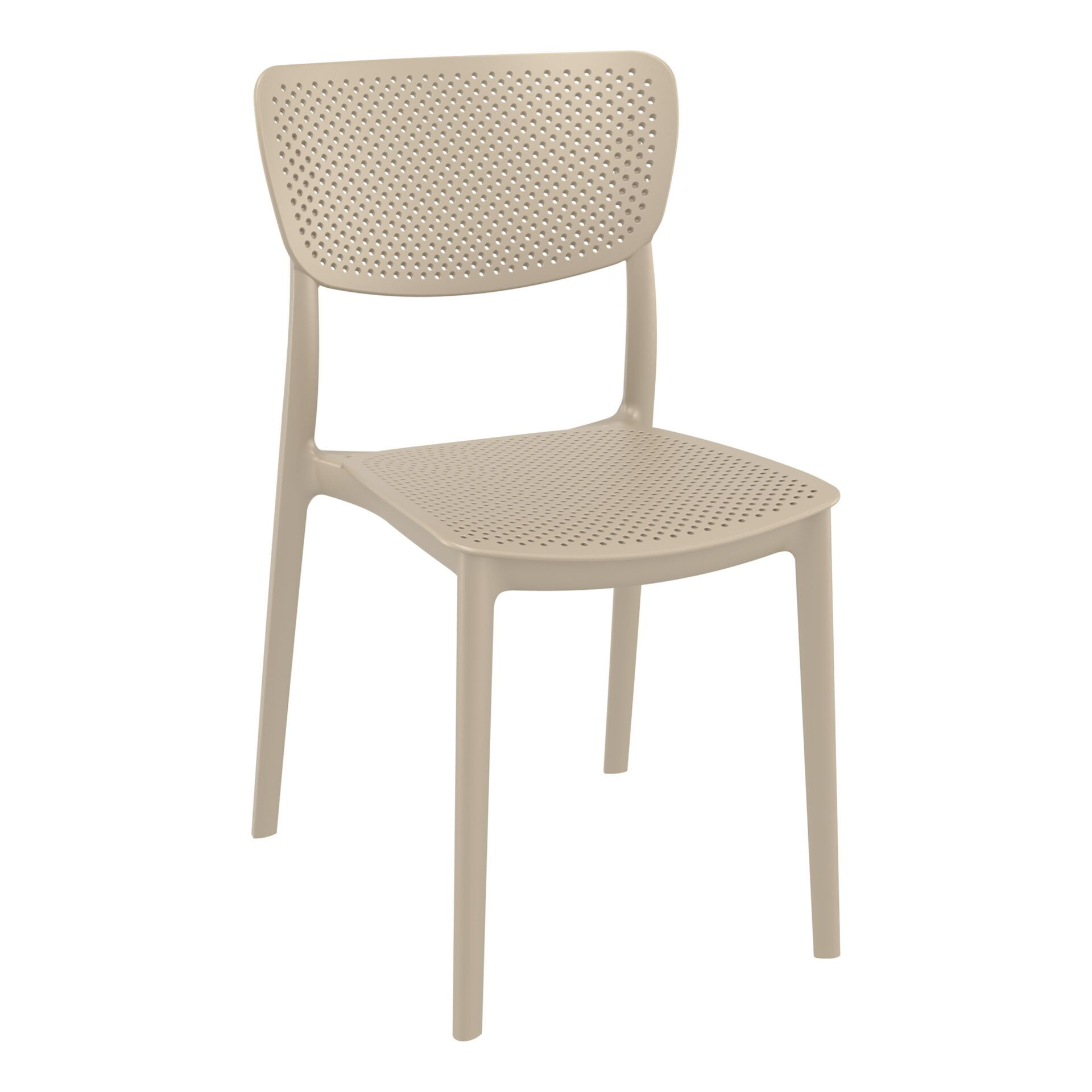 polypropylene hospitality seating lucy chair taupe front side