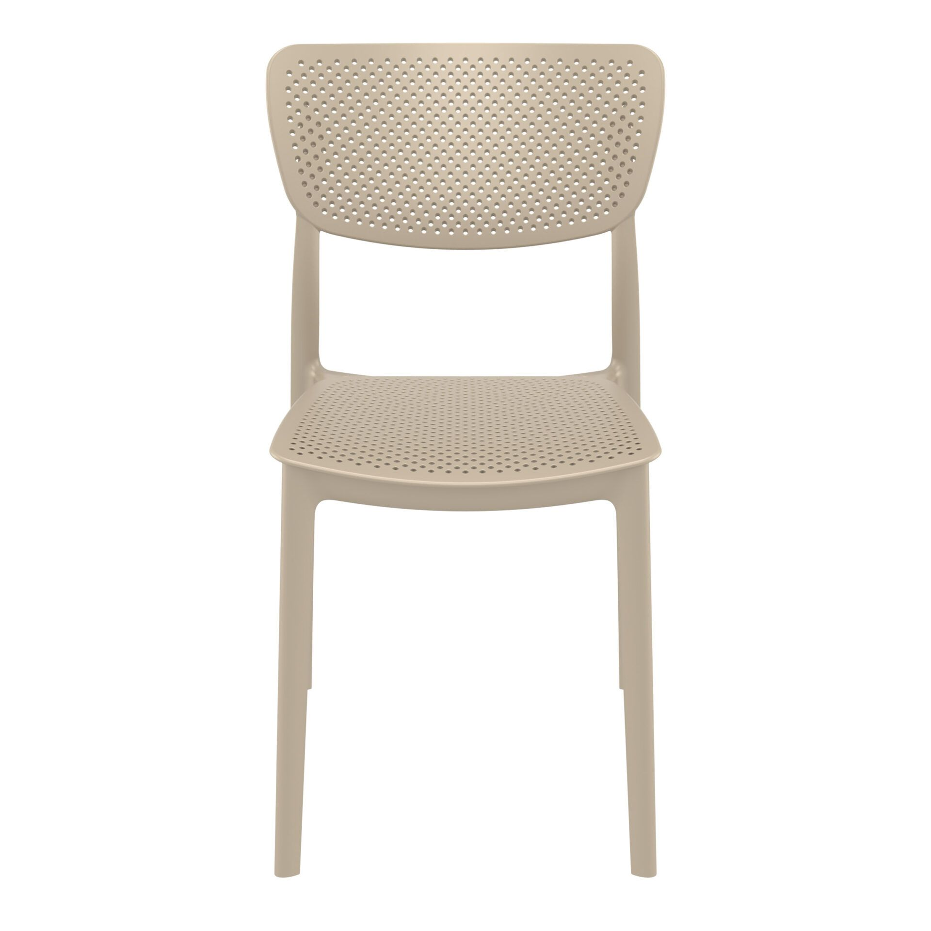 polypropylene hospitality seating lucy chair taupe front